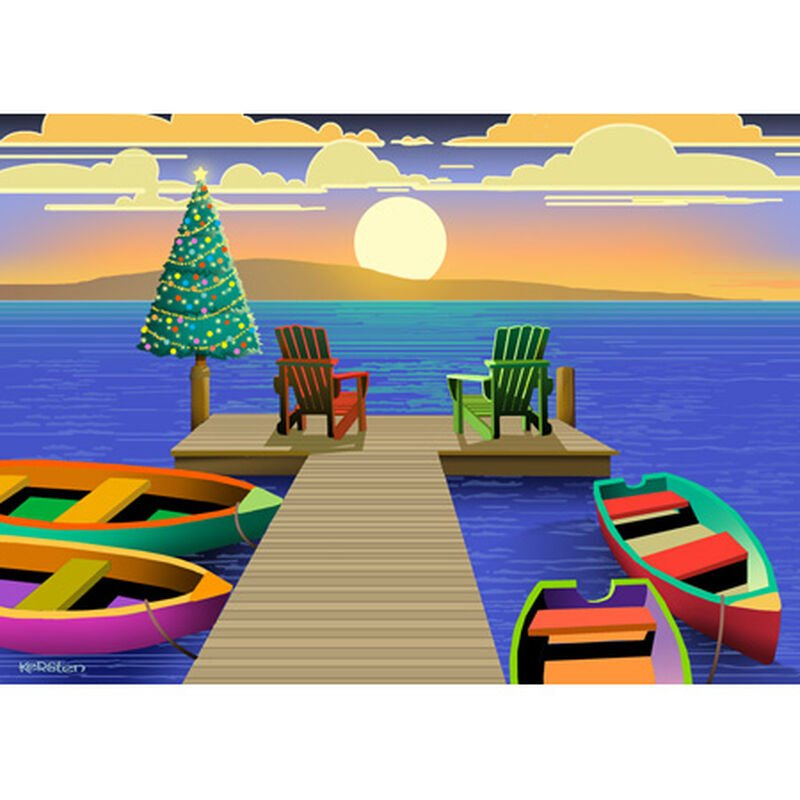 Kersten Brothers Personalized Sunset At Dock Christmas Cards image number 1