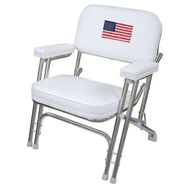 Wise Deluxe Folding Deck Chair w/Flag Logo