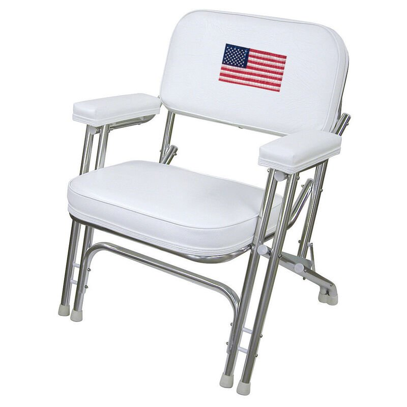 Wise Deluxe Folding Deck Chair w/Flag Logo image number 1