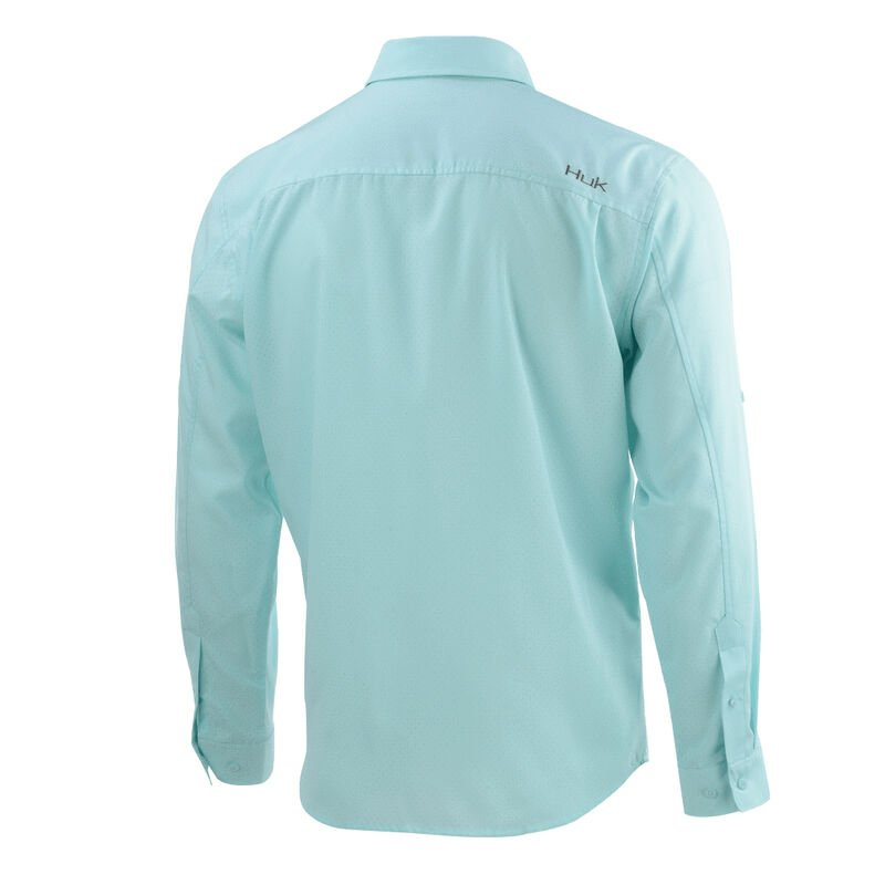 HUK Men's Tide Point Woven Solid Long-Sleeve Shirt image number 3