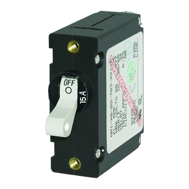 Blue Sea Circuit Breaker A-Series Toggle Switch, Single Pole, 15A, White image number 1