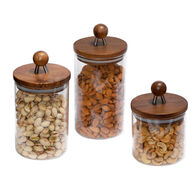 Honey Can Do Acacia-Top Glass Kitchen Canister Set, 3-Pc.