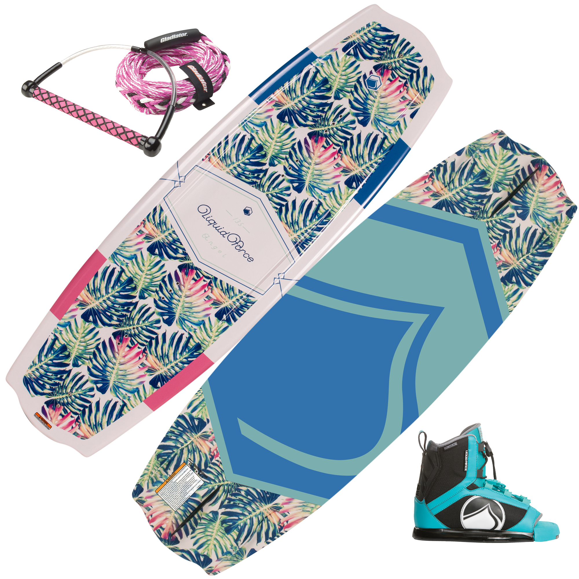Liquid Force Angel Wakeboard With Plush Bindings, Handle, And Rope