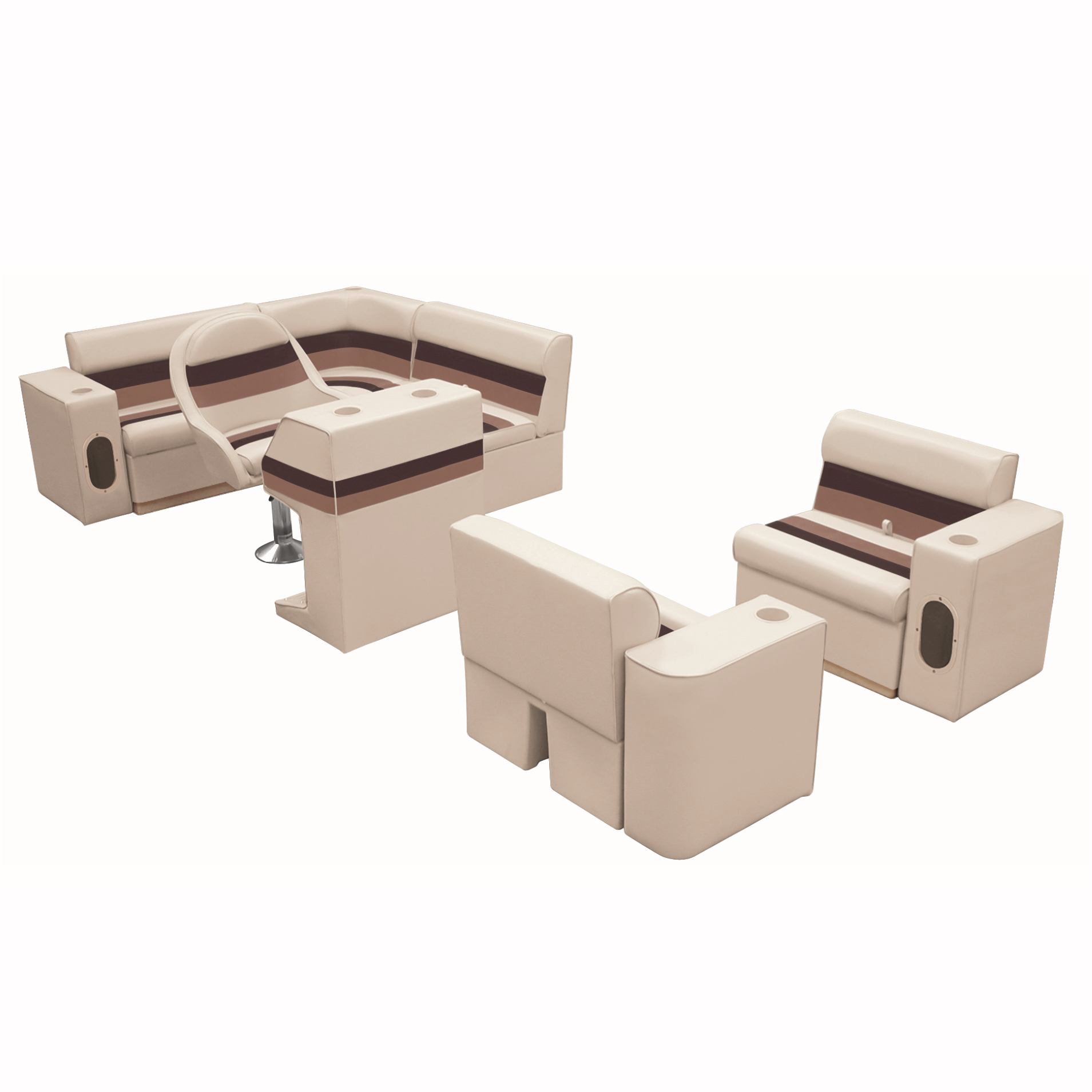 Deluxe Pontoon Furniture w/Toe Kick Base, Group 6 Package, Sand/Chestnut/Gold