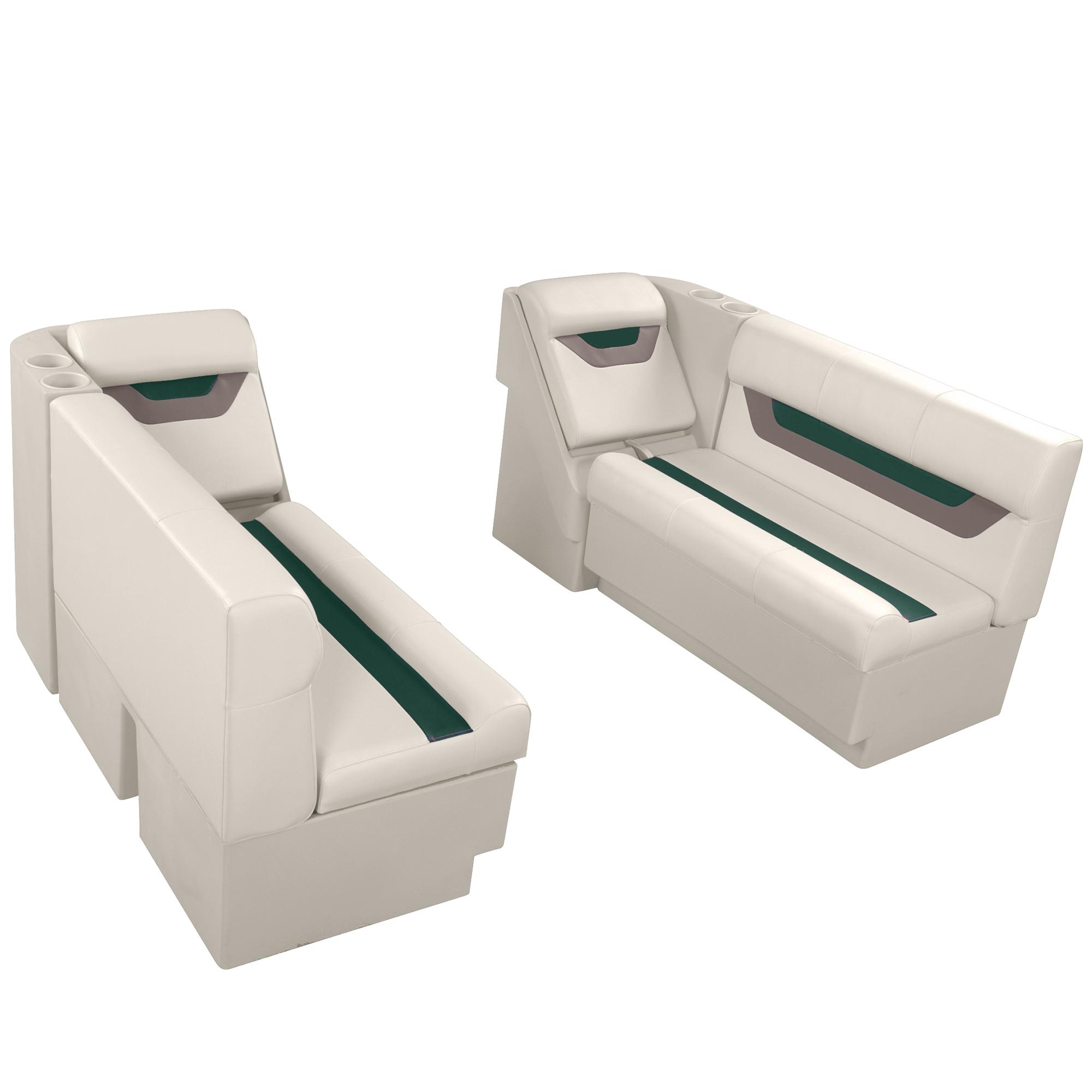 """Designer Pontoon Furniture - 54"""" Front Lounge Package, Platinum/Evergreen/Mocha"""