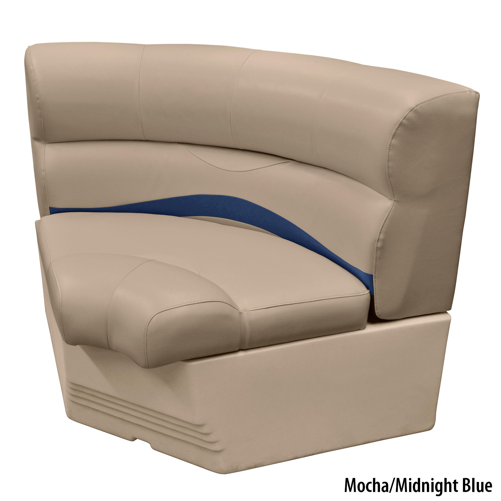 "Toonmate 32"" Premium Pontoon Corner Section Seat w/Bow Radius Corner, Mocha Base"