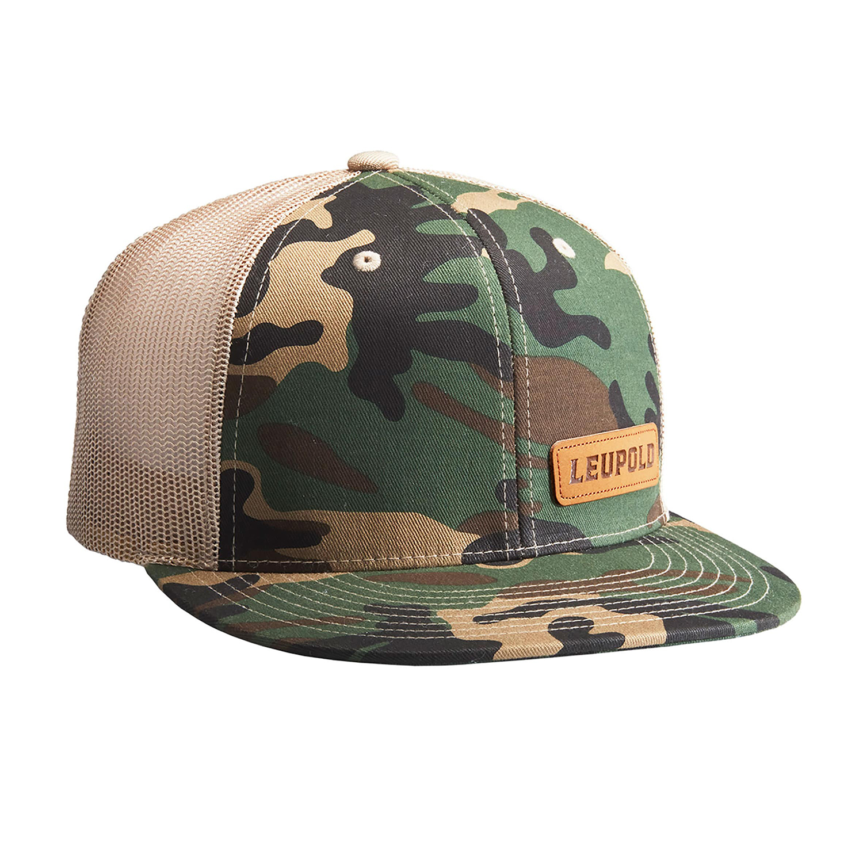 Leupold Men's Leather Patch Camo Trucker Cap