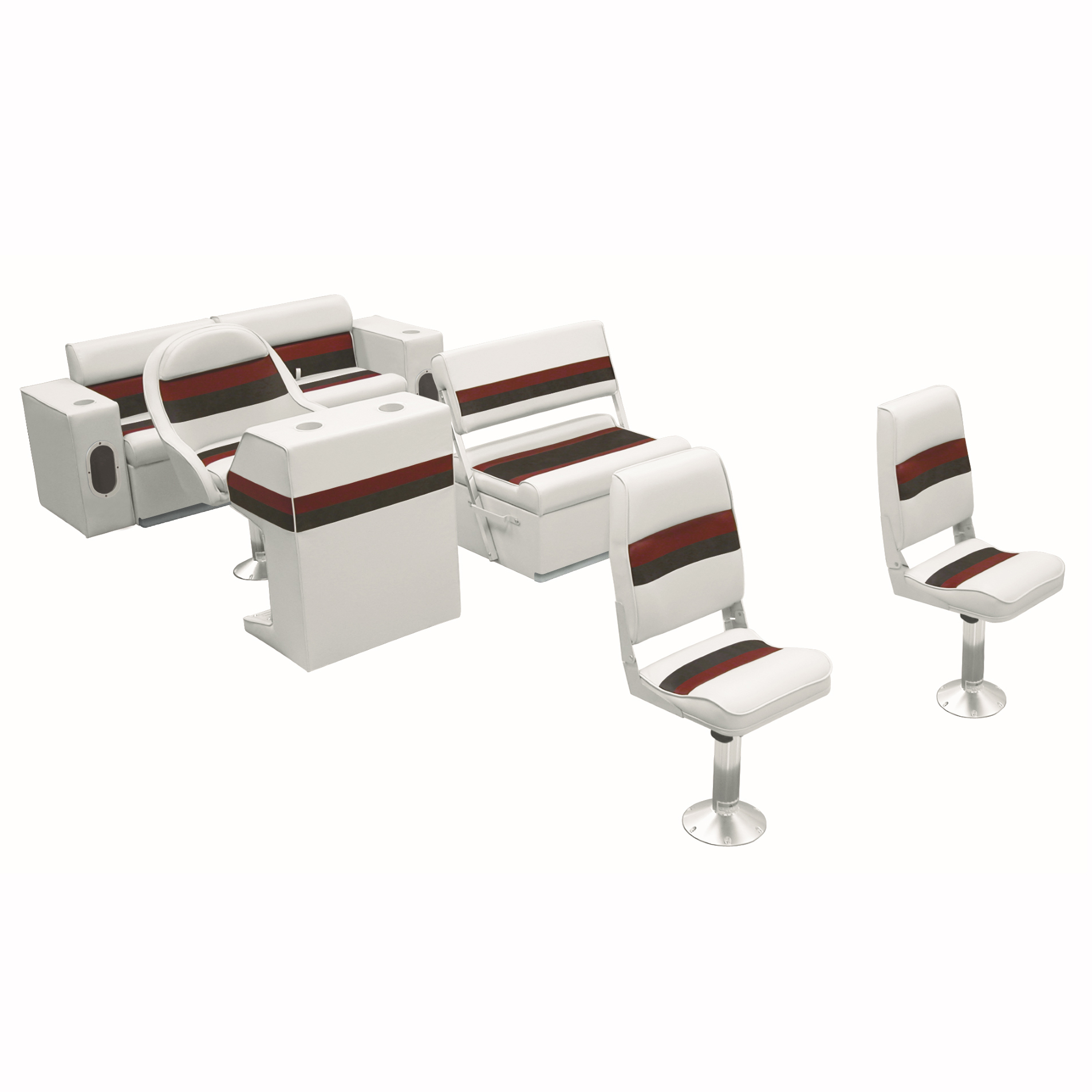 Deluxe Pontoon Furniture w/Toe Kick Base - Fishing Package, White/Red/Charcoal