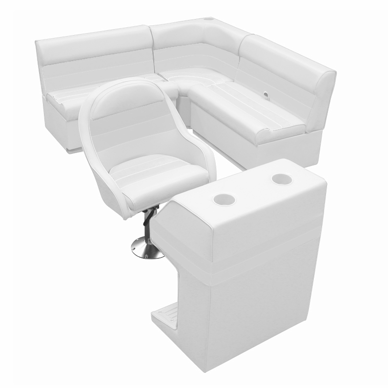Deluxe Pontoon Furniture with Toe Kick Base - Group 2 Package, White