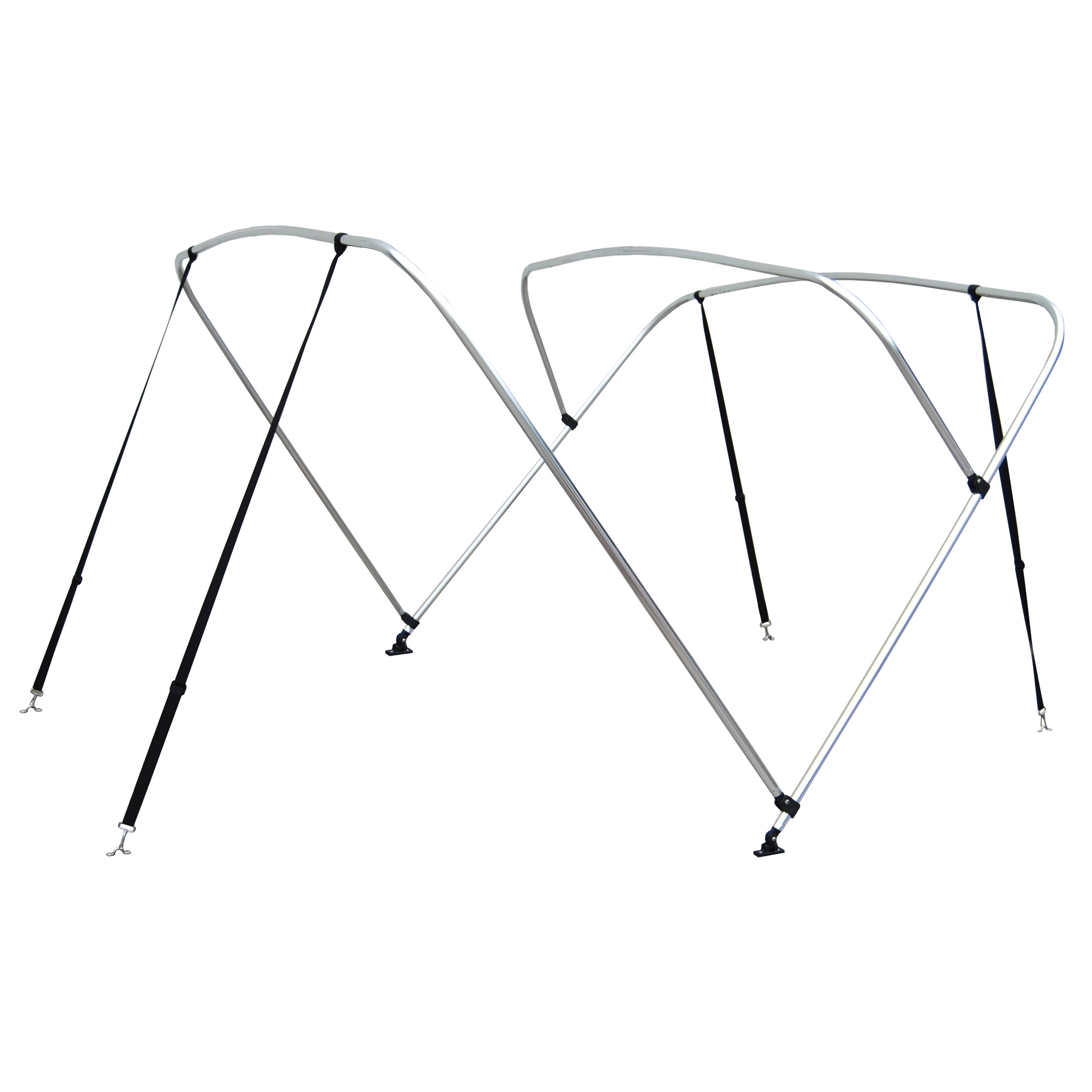 Shademate White Vinyl Stainless 4-Bow Bimini Top 8'L x 54''H 54''-60'' Wide
