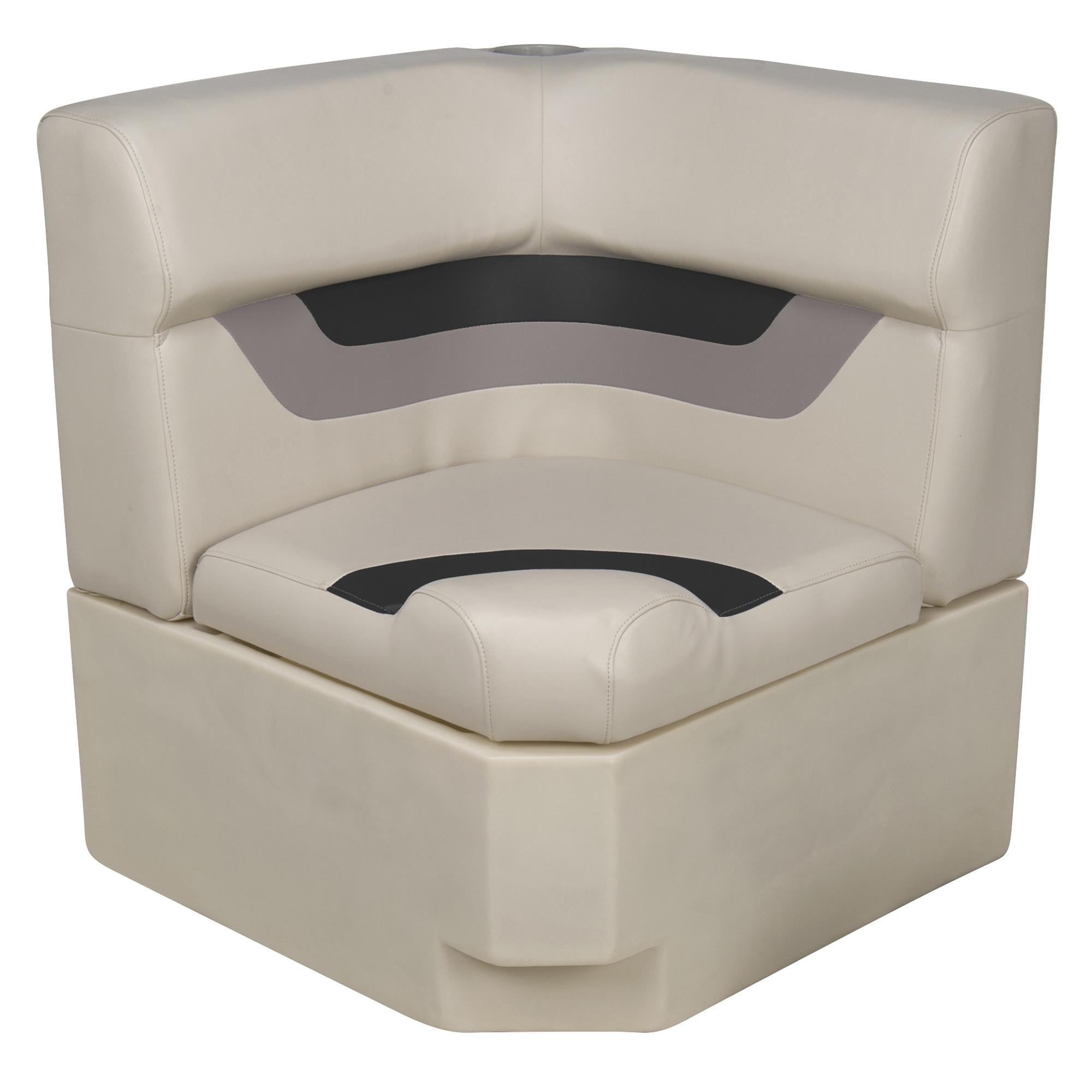 Toonmate Designer Pontoon Corner Section Seat - TOP ONLY - Platinum/Black/Mocha