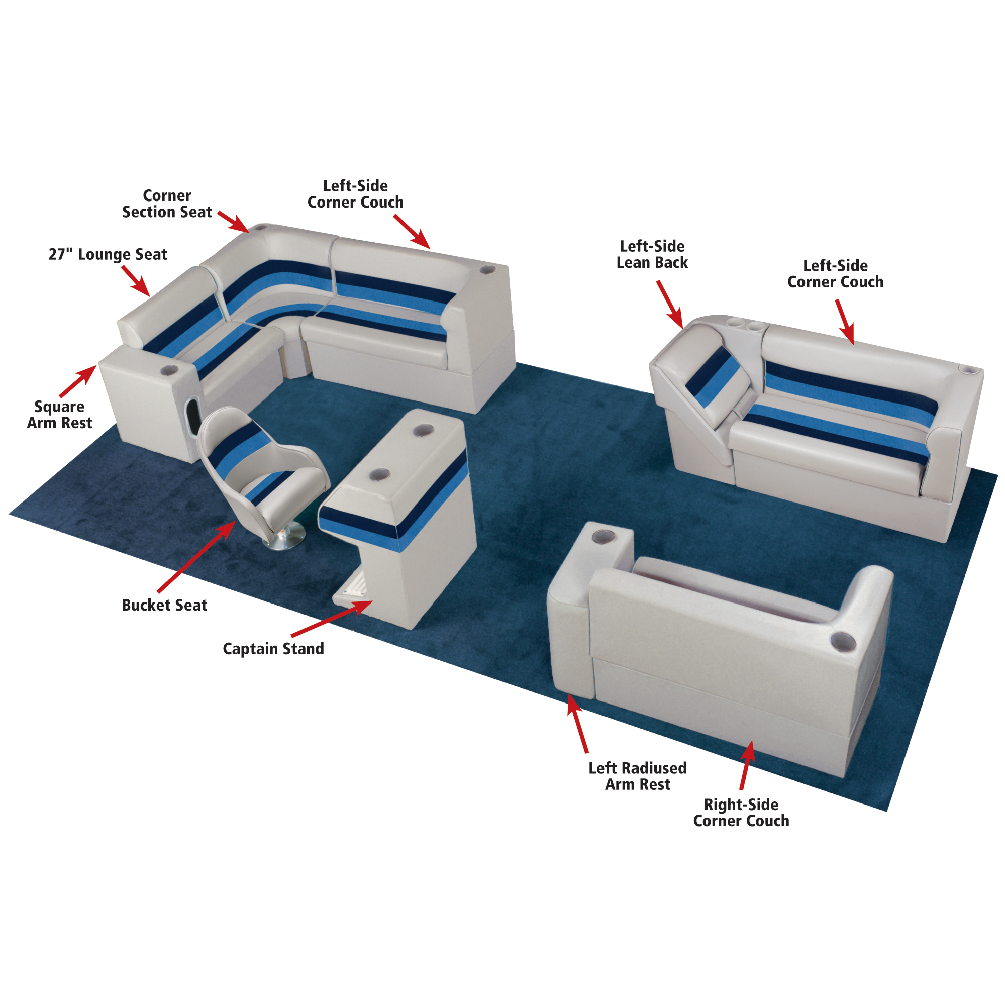 Toonmate Deluxe Pontoon Corner Couch w/Classic Base(no toe kick) Left Side Gray