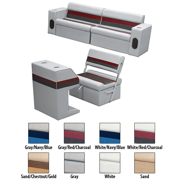 Deluxe Pontoon Furniture w/Classic Base - Rear Group Package M, Gray/Red/Charcoa