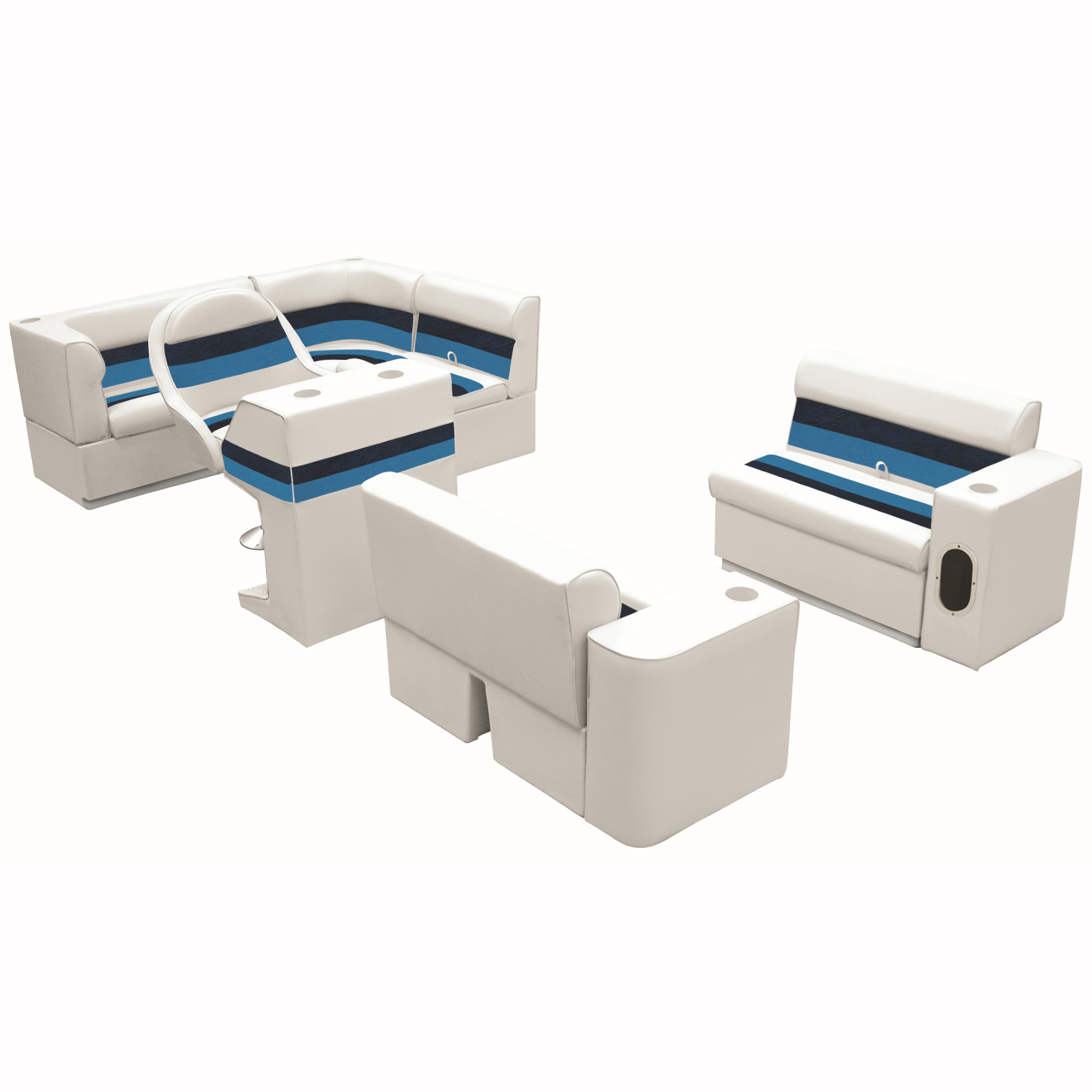 Deluxe Pontoon Seats w/Toe Kick Base, Group 1 Package Plus Stand, White/Navy/Blu