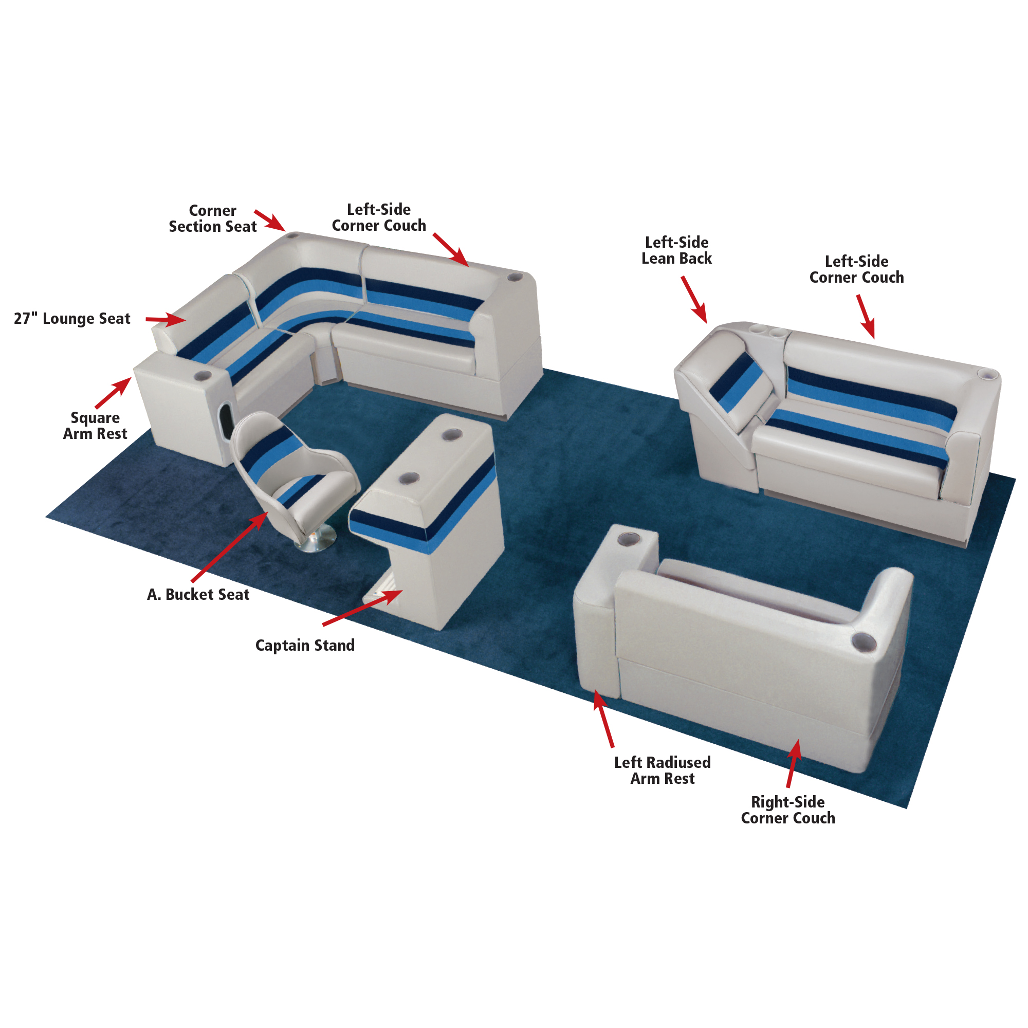 """Toonmate Deluxe Pontoon 55"""" Wide Lounge Seat with Toe Kick Base, Sand"""