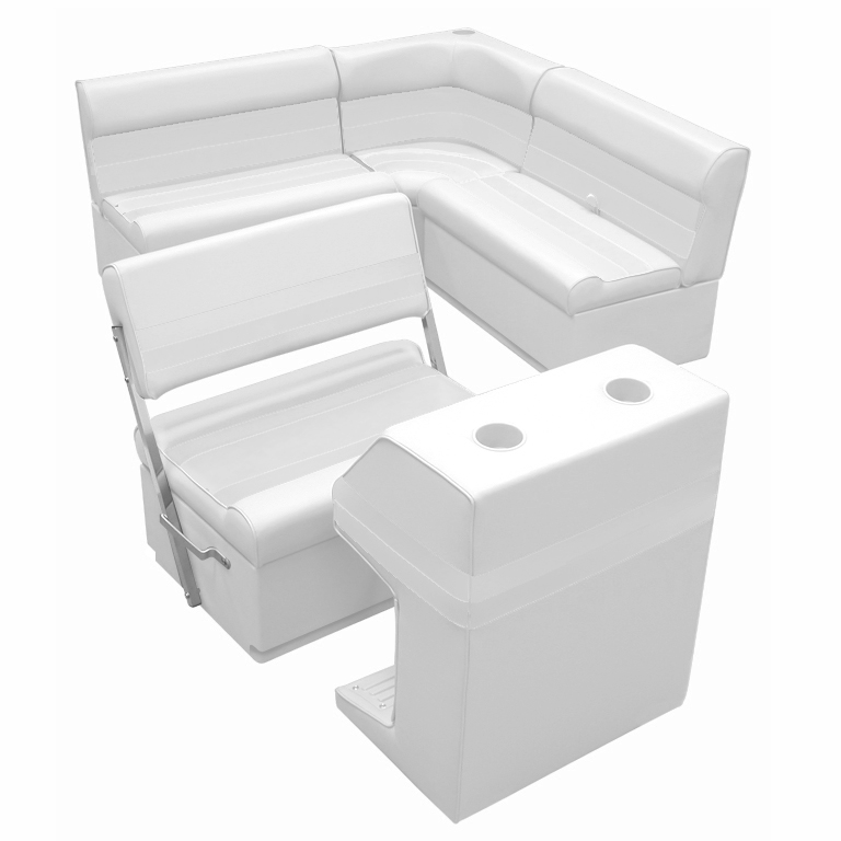 Deluxe Pontoon Furniture w/Toe Kick Base - Rear Group 3 Package, White