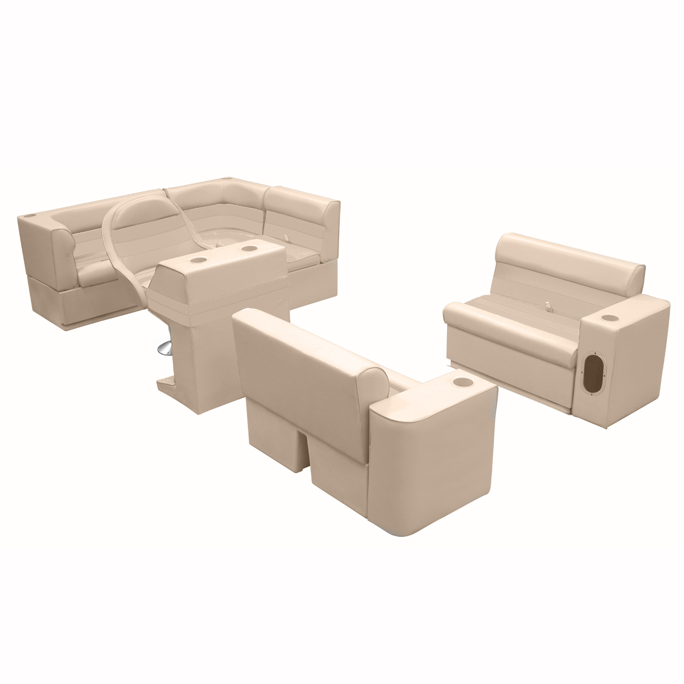 Deluxe Pontoon Furniture with Toe Kick Base, Group 1 Package, Sand