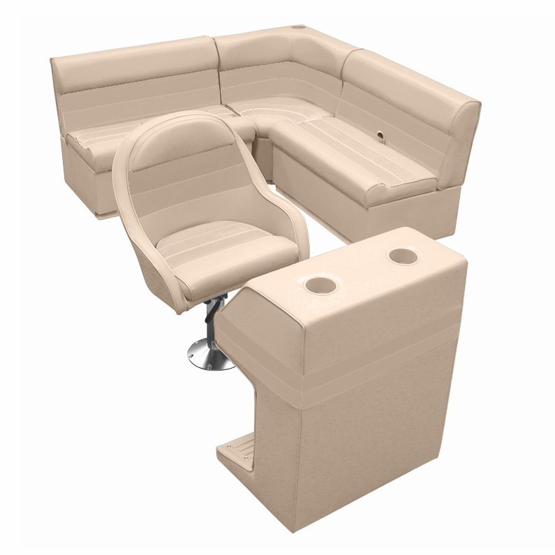 Deluxe Pontoon Furniture with Toe Kick Base - Group 2 Package, Sand