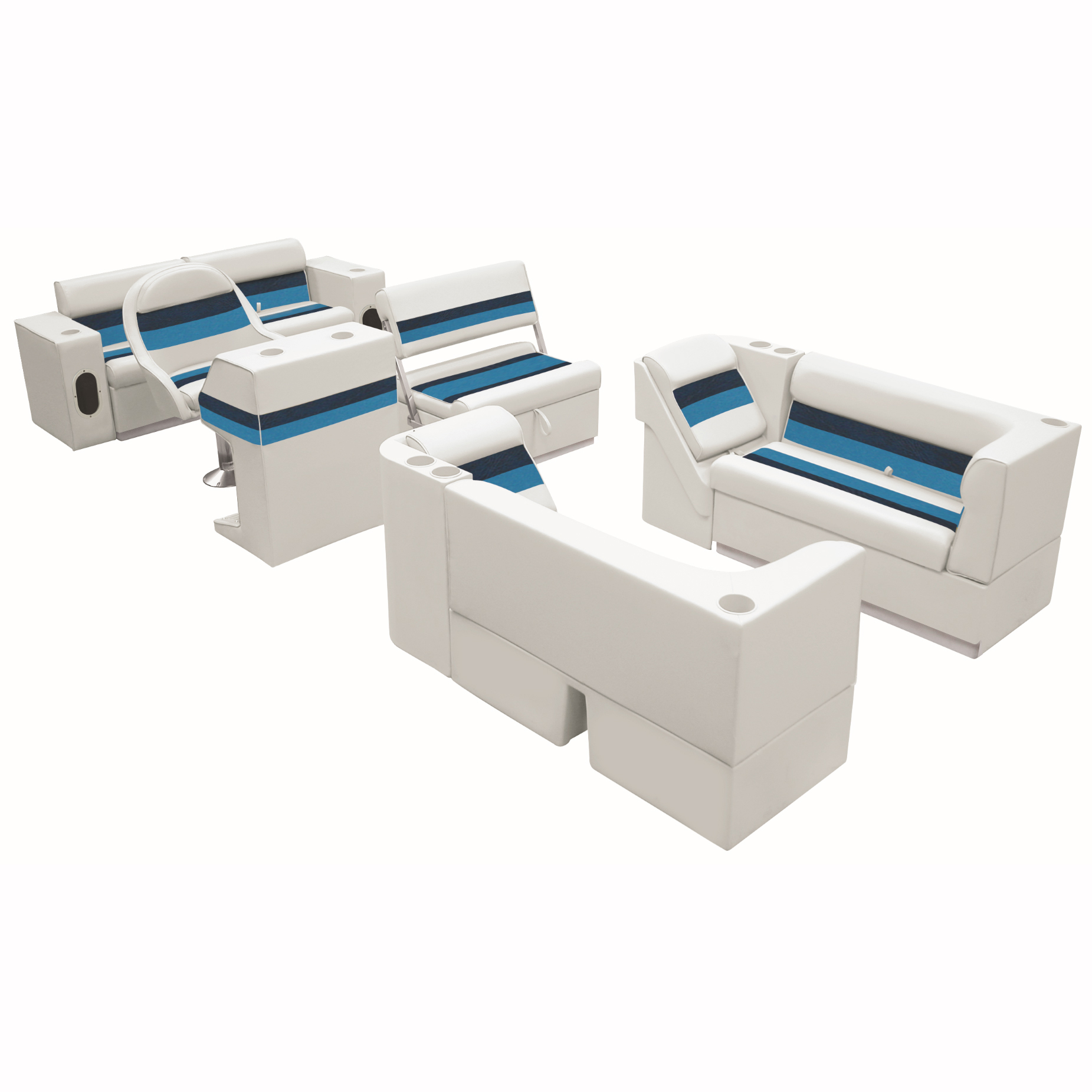 Deluxe Pontoon Furniture w/Toe Kick Base, Complete Package E, White/Navy/Blue