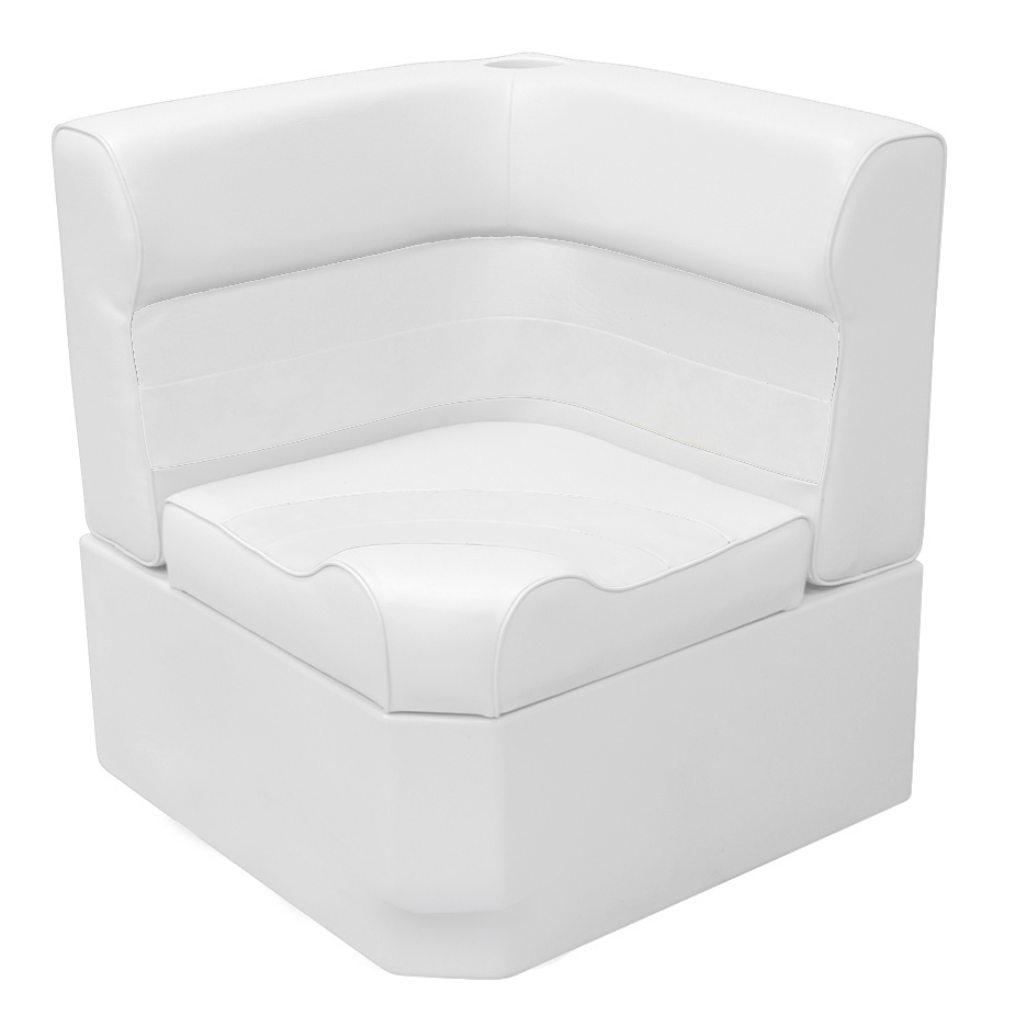 Toonmate Deluxe Radiused Corner Section Seat with Toe Kick Base, White