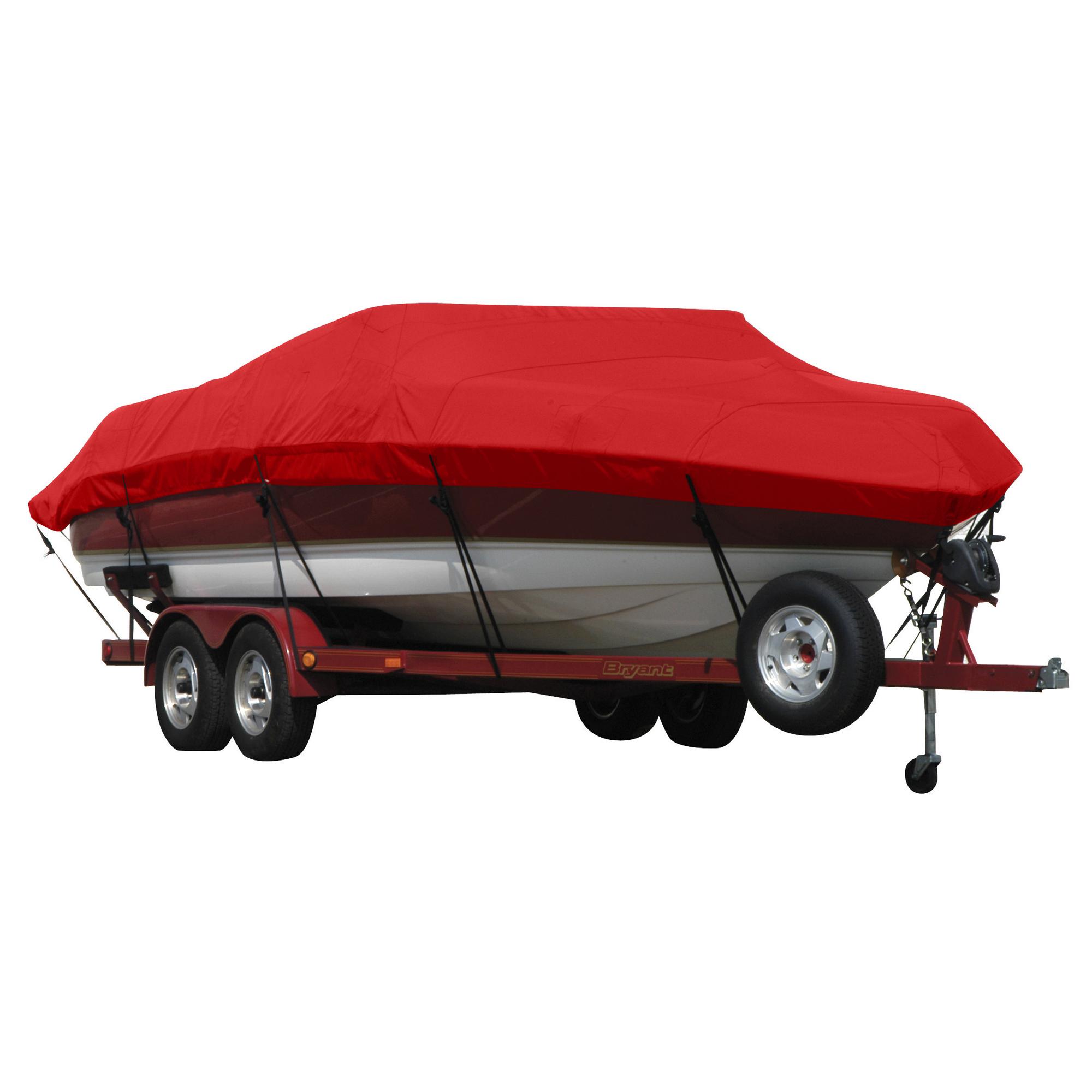Exact Fit Covermate Sunbrella Boat Cover for Princecraft Super Pro 176 Super Pro 176 Fish N Promenade W/Ski Rope Guard O/B. Jockey Red