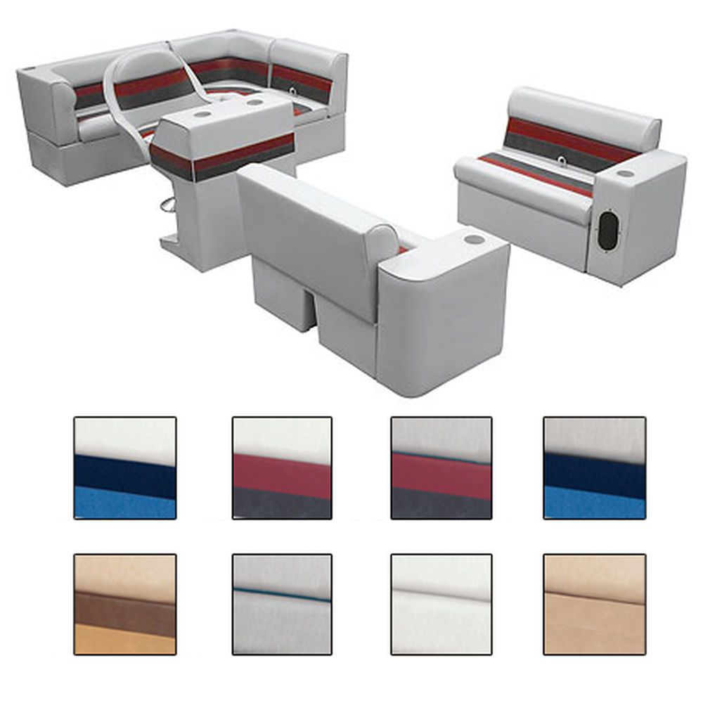 Deluxe Pontoon Furniture w/Classic Base - Complete Boat Package C, White