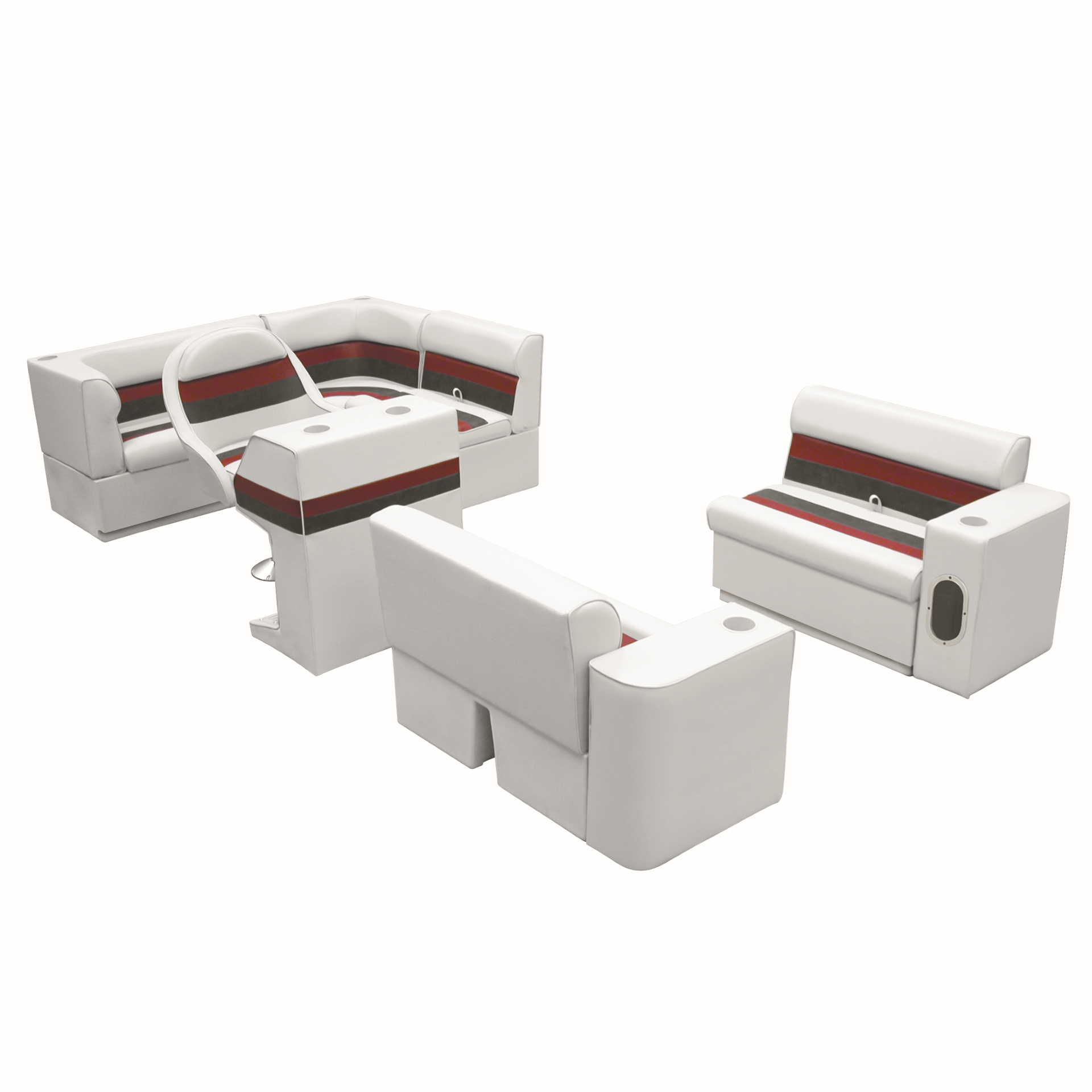Deluxe Pontoon Furniture with Toe Kick Base, Group 1 Package, White/Red/Charcoal
