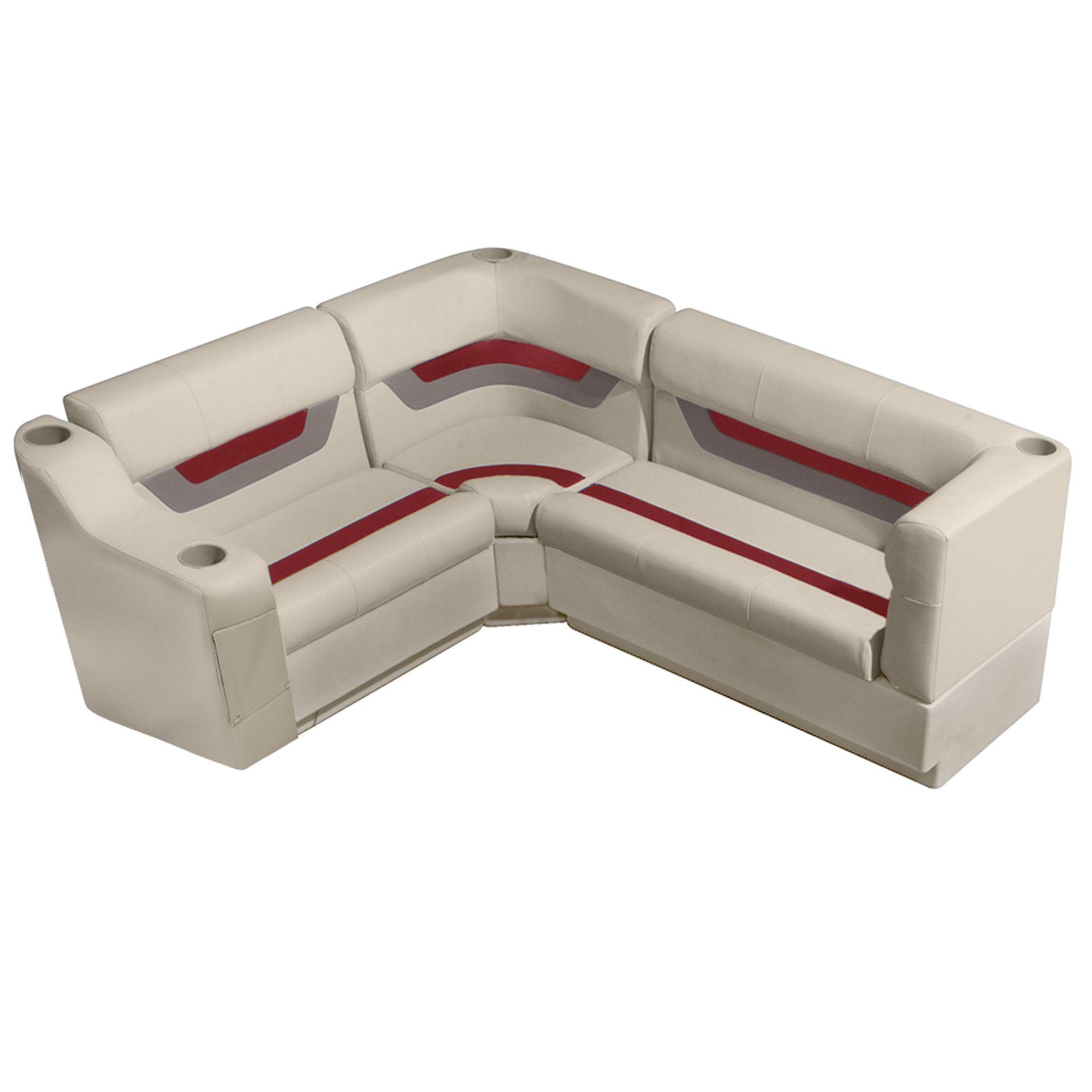 "Designer Pontoon Furniture - 61"" Rear Seat Package, Platinum/Dark Red/Mocha"