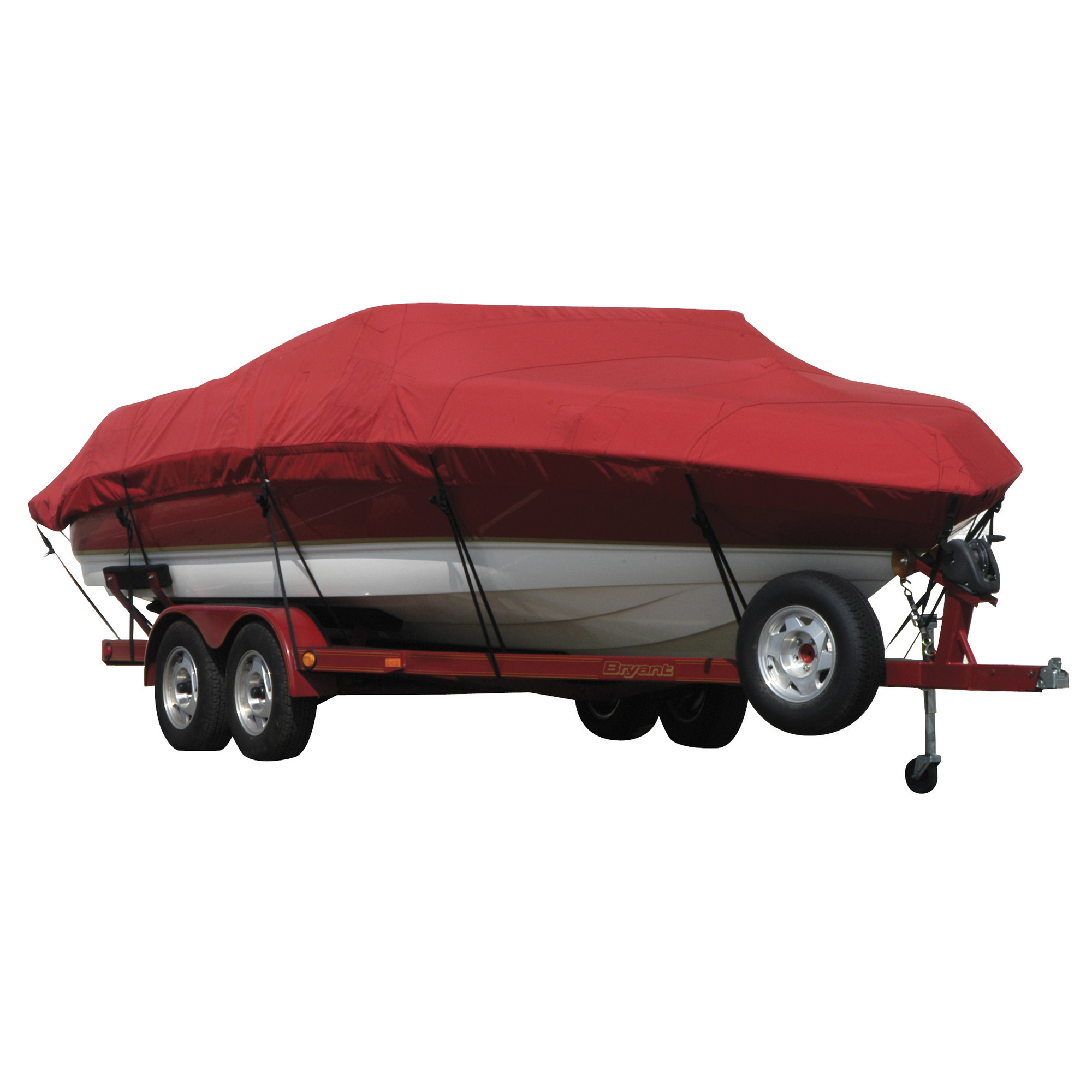 Exact Fit Covermate Sunbrella Boat Cover for Princecraft Super Pro 176 Super Pro 176 Fish N Promenade W/Ski Rope Guard O/B. Red