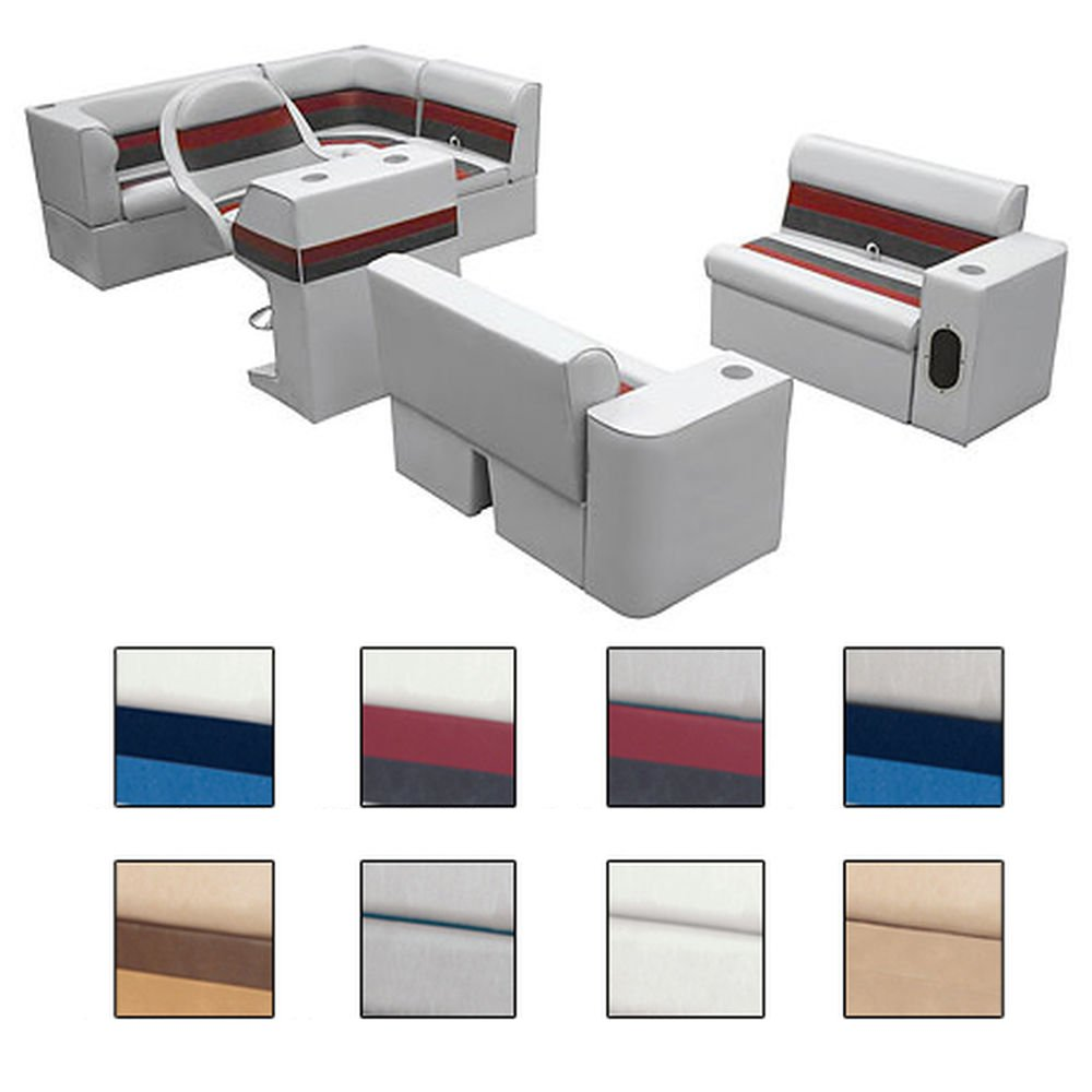 Deluxe Pontoon Furniture w/Classic Base - Complete Boat Package C, Gray