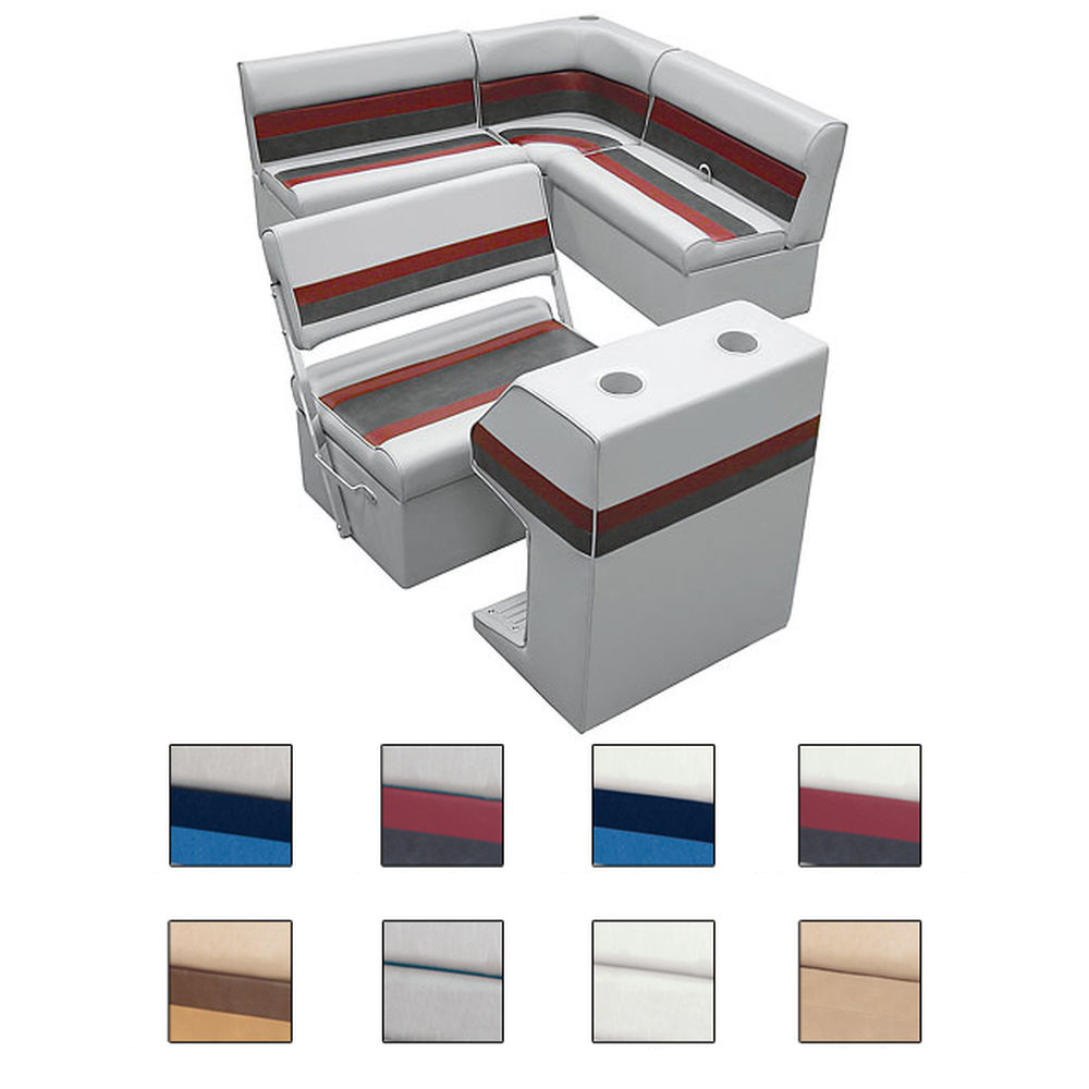 Deluxe Pontoon Furniture w/Classic Base - Rear Group Package E, White/Red/Charco