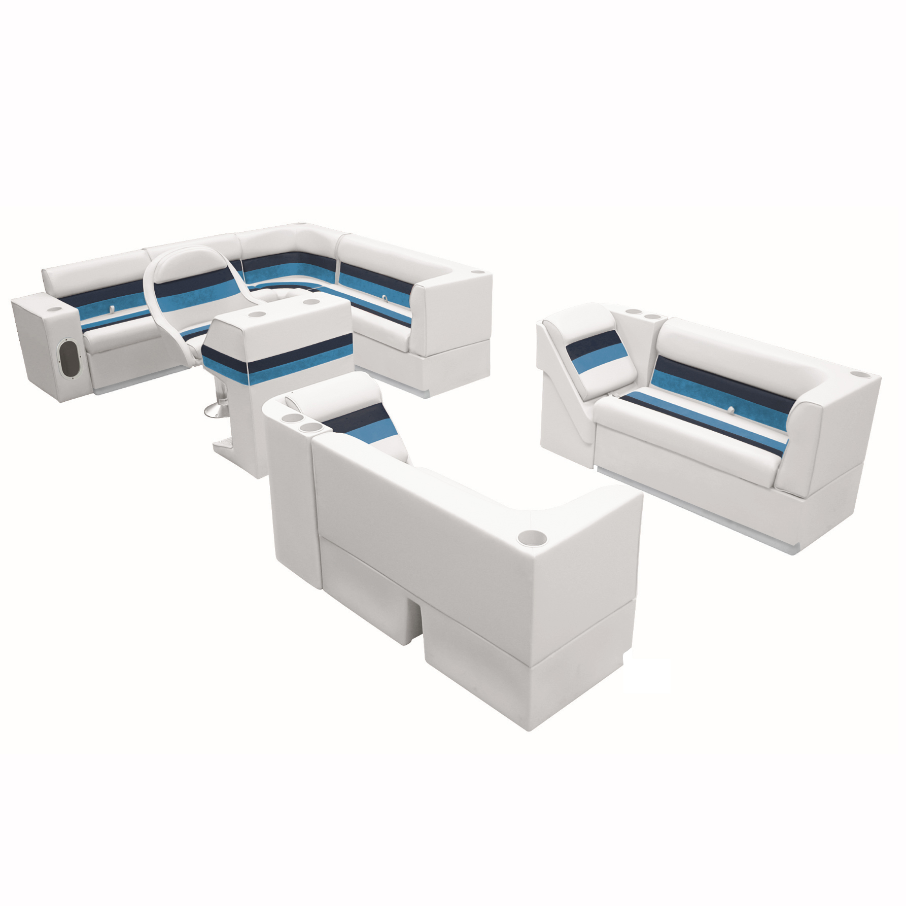 """Deluxe Pontoon Seats w/Toe Kick Base, Big """"L"""" Package Plus Stand, White/Nvy/Blue"""