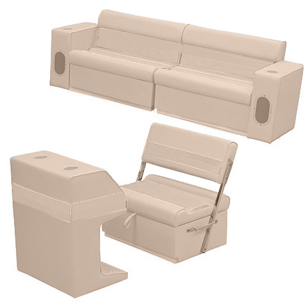 Deluxe Pontoon Furniture w/Toe Kick Base - Rear Group 7 Package, Sand