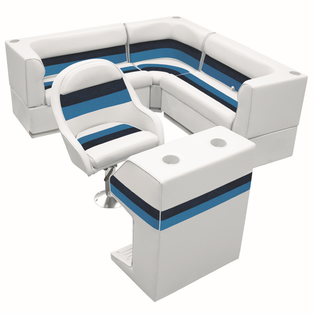 Deluxe Pontoon Furniture w/Toe Kick Base - Rear Group 4 Package, White/Navy/Blue