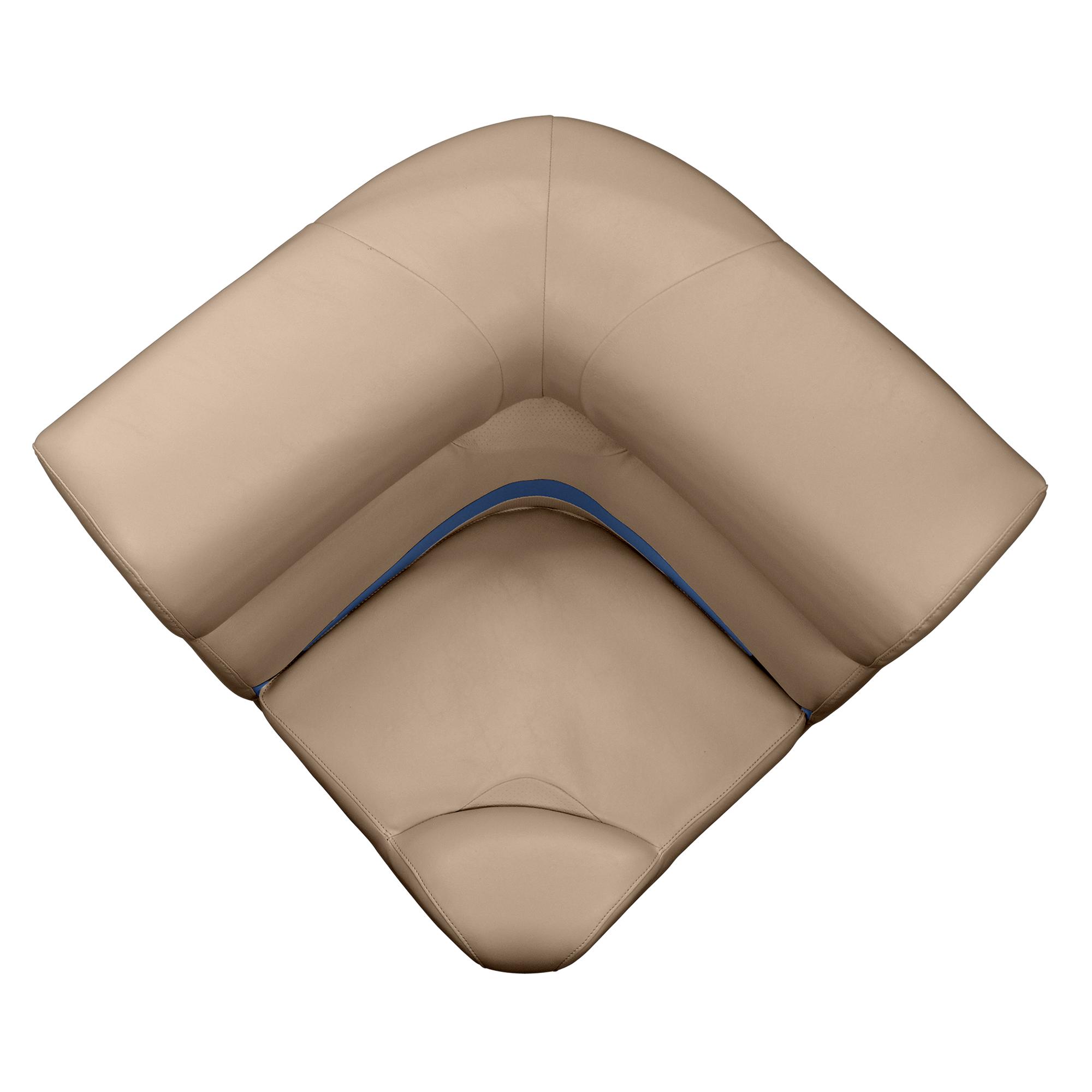 "Toonmate 25"" Premium Pontoon Corner Section Seat w/Rounded Corner, Mocha Base"