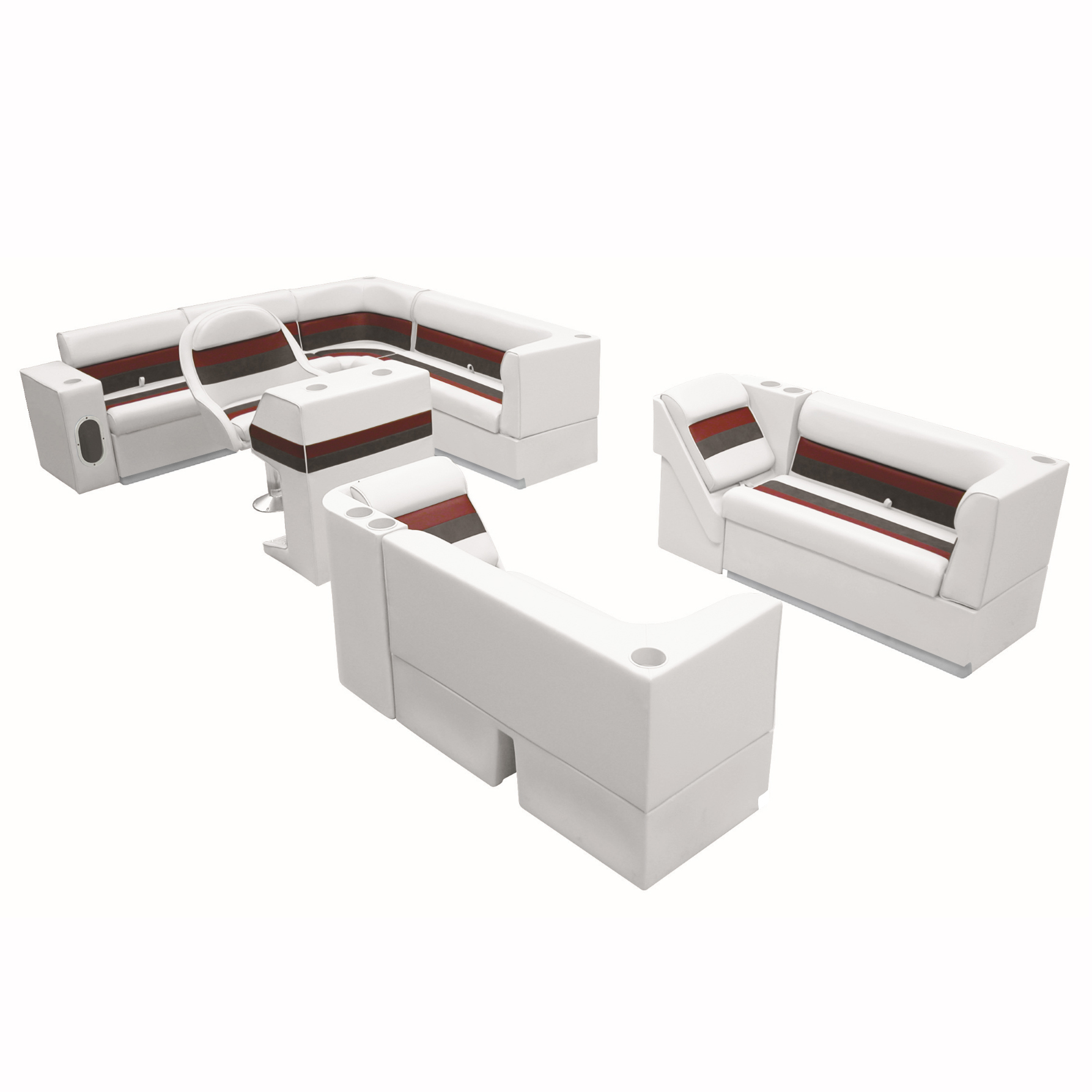 """Deluxe Pontoon Furniture w/Toe Kick Base, Complete Big """"L"""" Package, White/Red/Ch"""