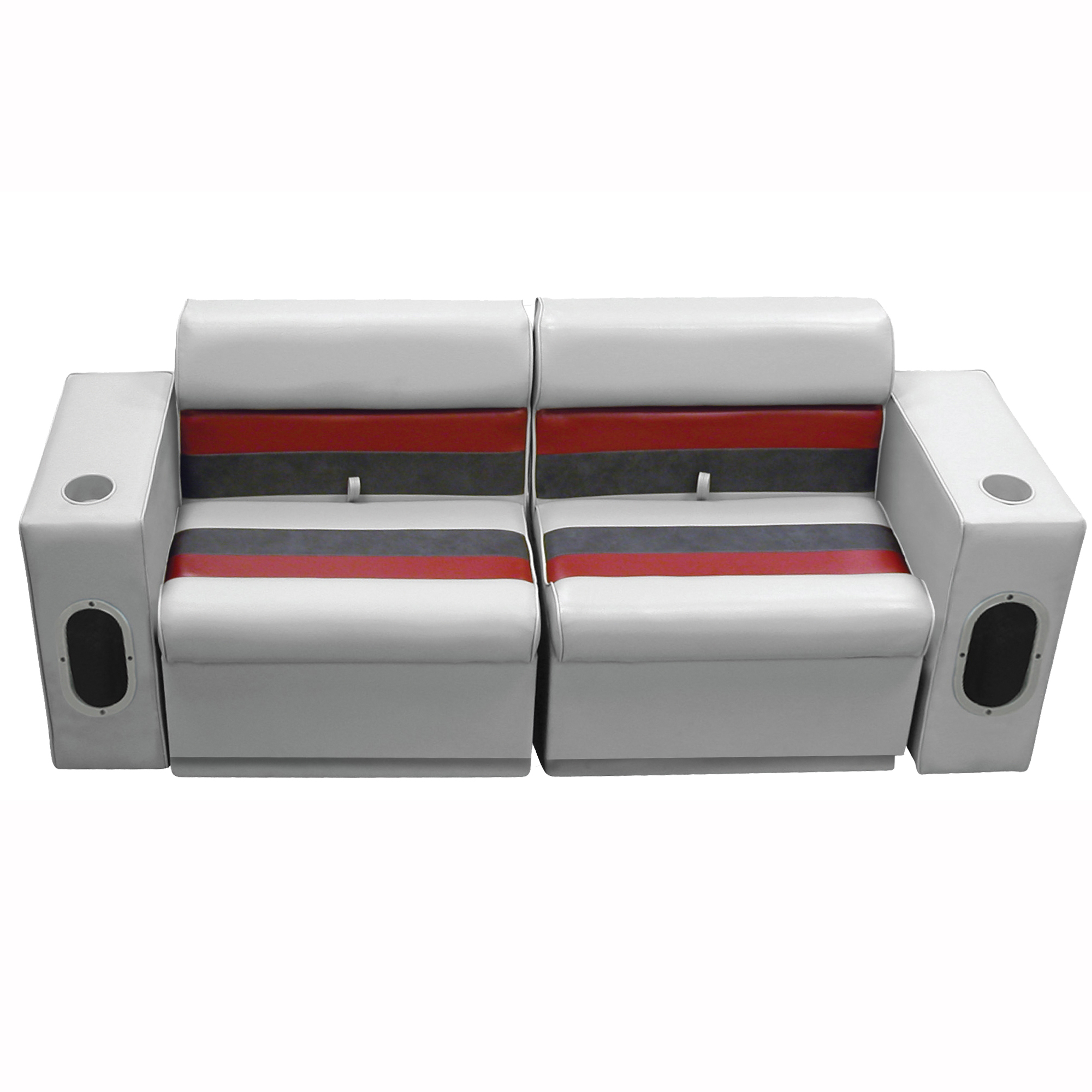 Deluxe Pontoon Furniture w/Toe Kick Base - Front Group 5 Package, Gray/Red/Charc