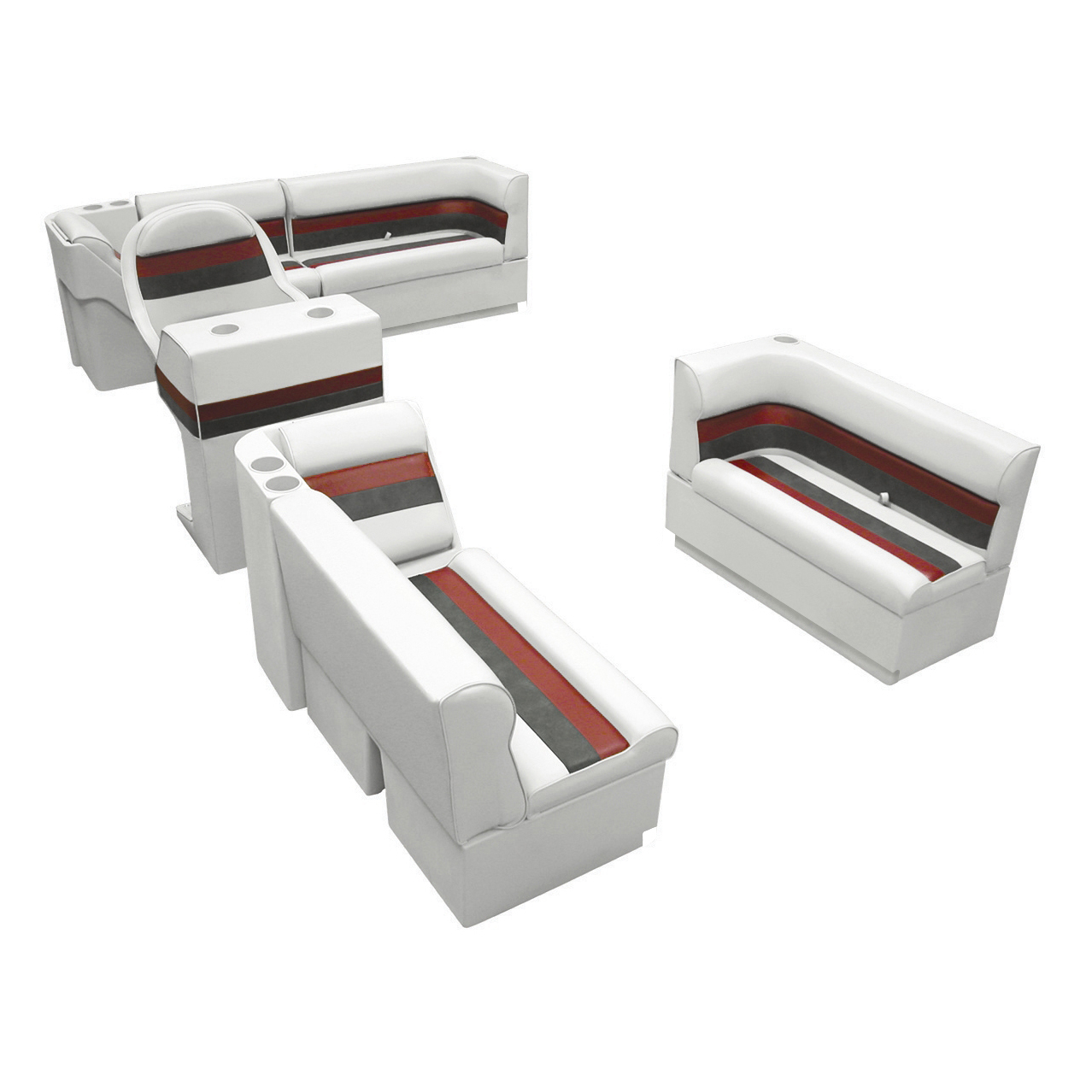 Deluxe Pontoon Furniture w/Toe Kick Base, Complete Boat Package A, White/Red/Cha