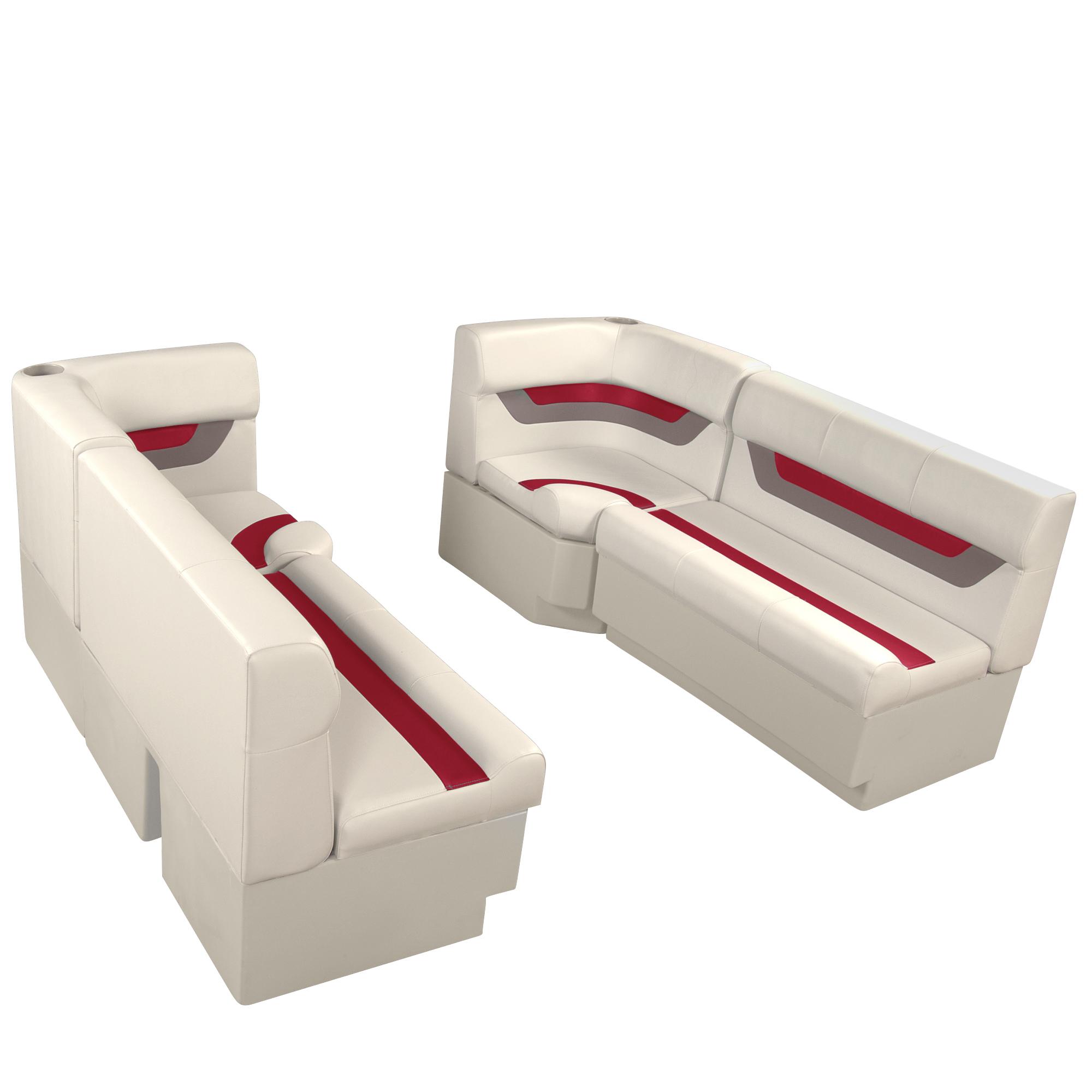 "Designer Pontoon Furniture - 61"" Front Seat Package, Platinum/Dark Red/Mocha"