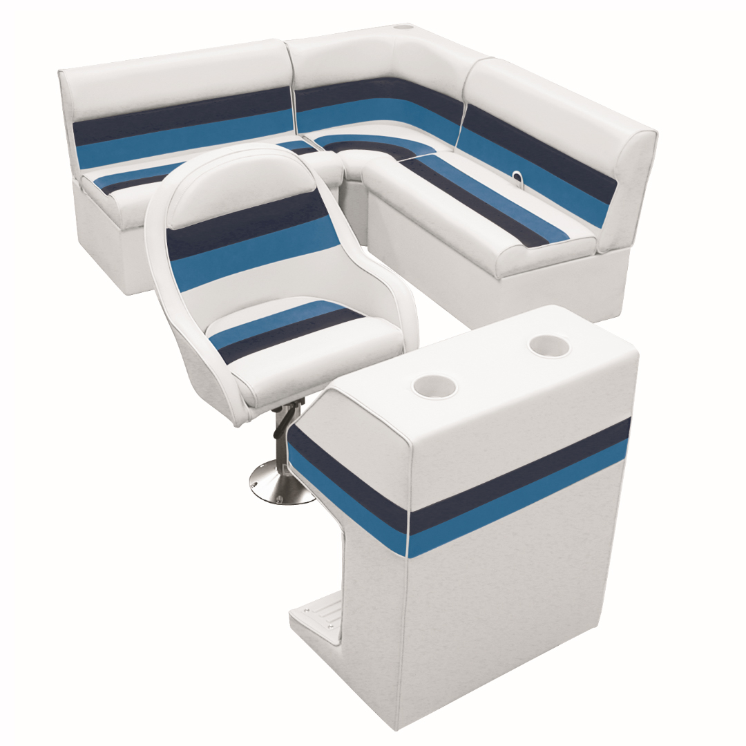 Deluxe Pontoon Furniture w/Classic Base - Rear Group Package D, White/Navy/Blue