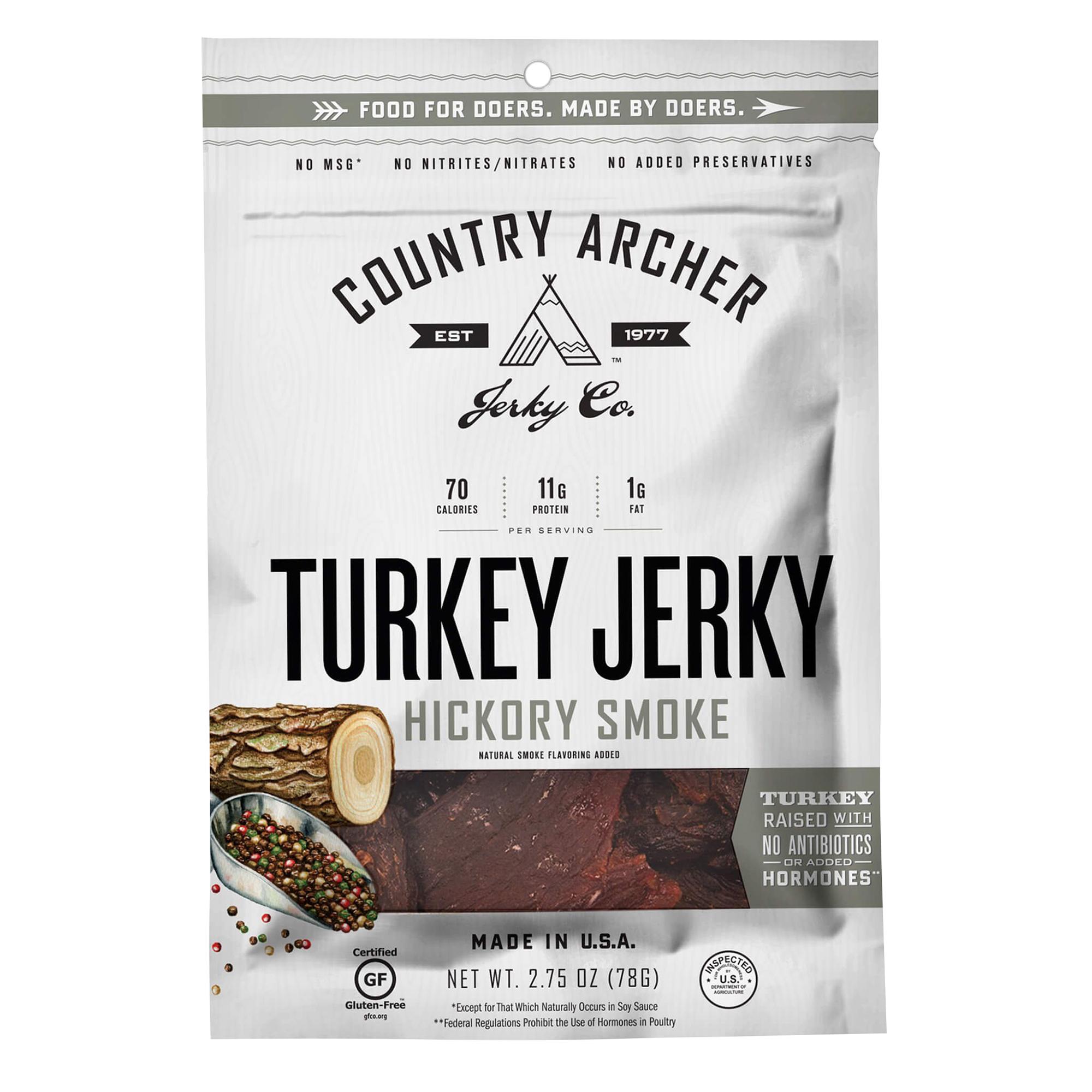 Country Archer Hickory Smoked Turkey Jerky, 2.75oz. Bag