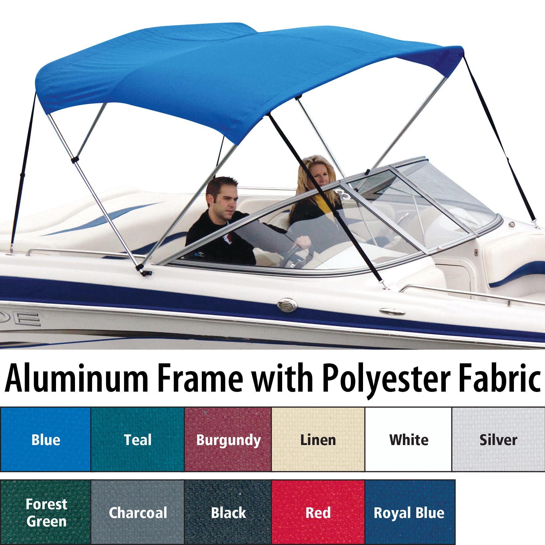 """Shademate Polyester 3-Bow Bimini Top, 6'L x 46""""H, 85""""-90"""" Wide"""