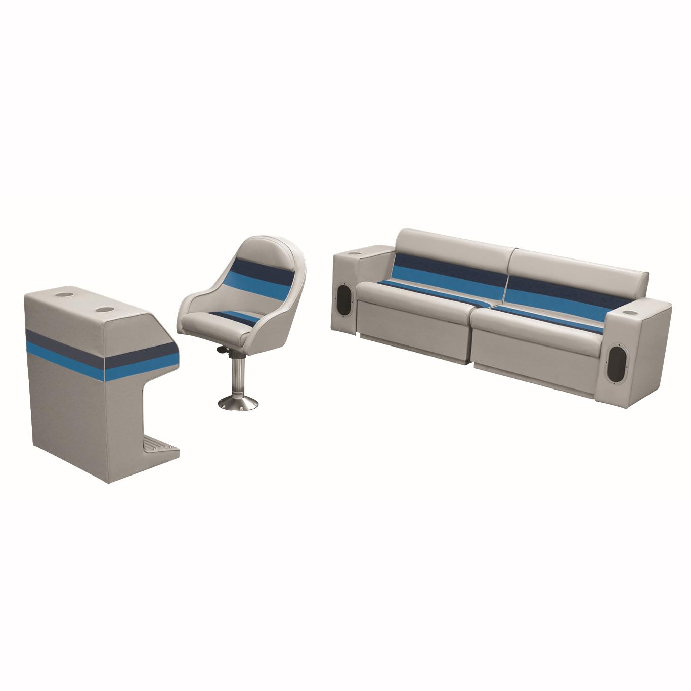 Deluxe Pontoon Furniture w/Toe Kick Base - Rear Basic Package, Gray/Navy/Blue