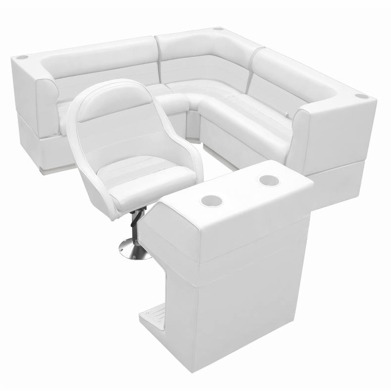 Deluxe Pontoon Furniture w/Toe Kick Base - Rear Group 4 Package, White