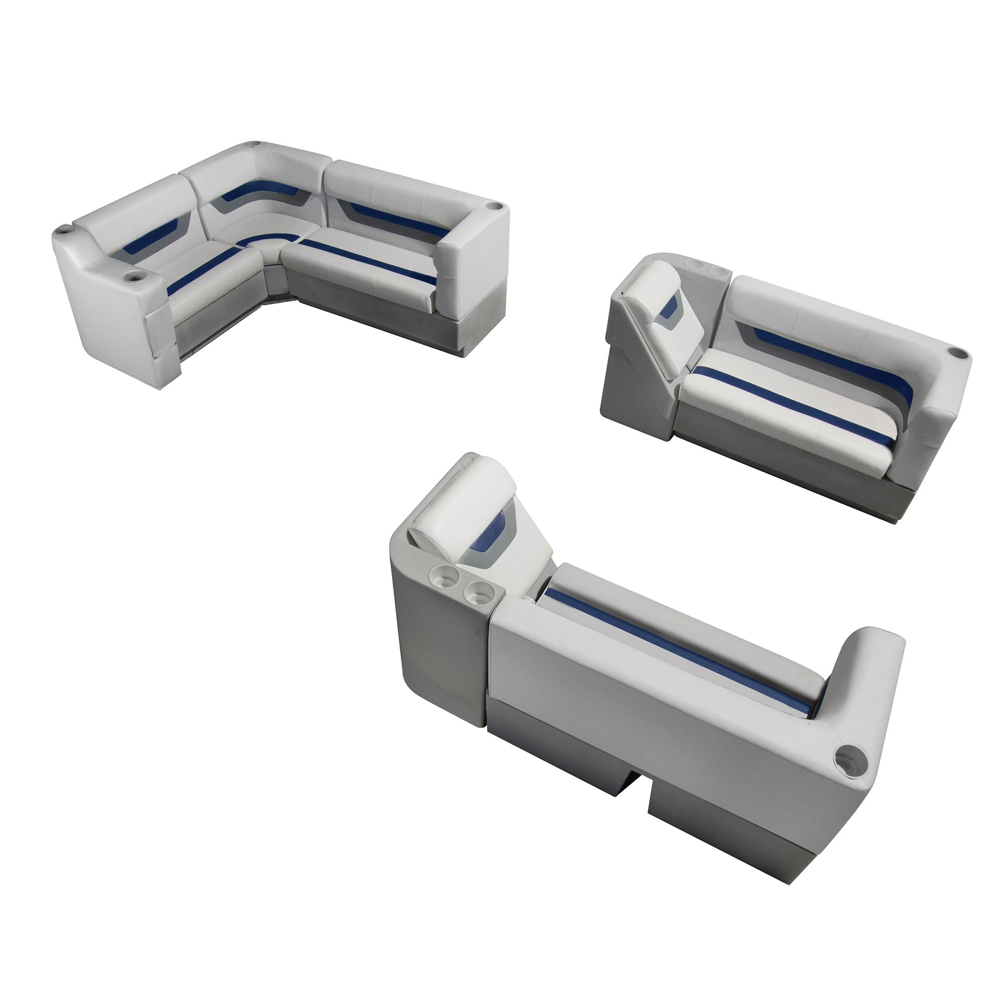 Designer Pontoon Furniture - Complete Lounger Package, Sky Gray/Navy