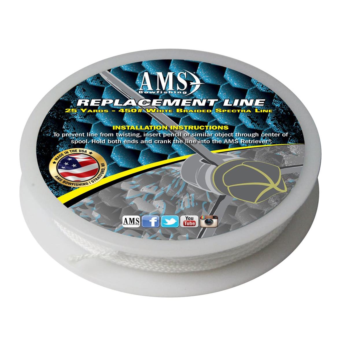 AMS Bowfishing Replacement Bowfishing Line, 450-lb, 25 Yards