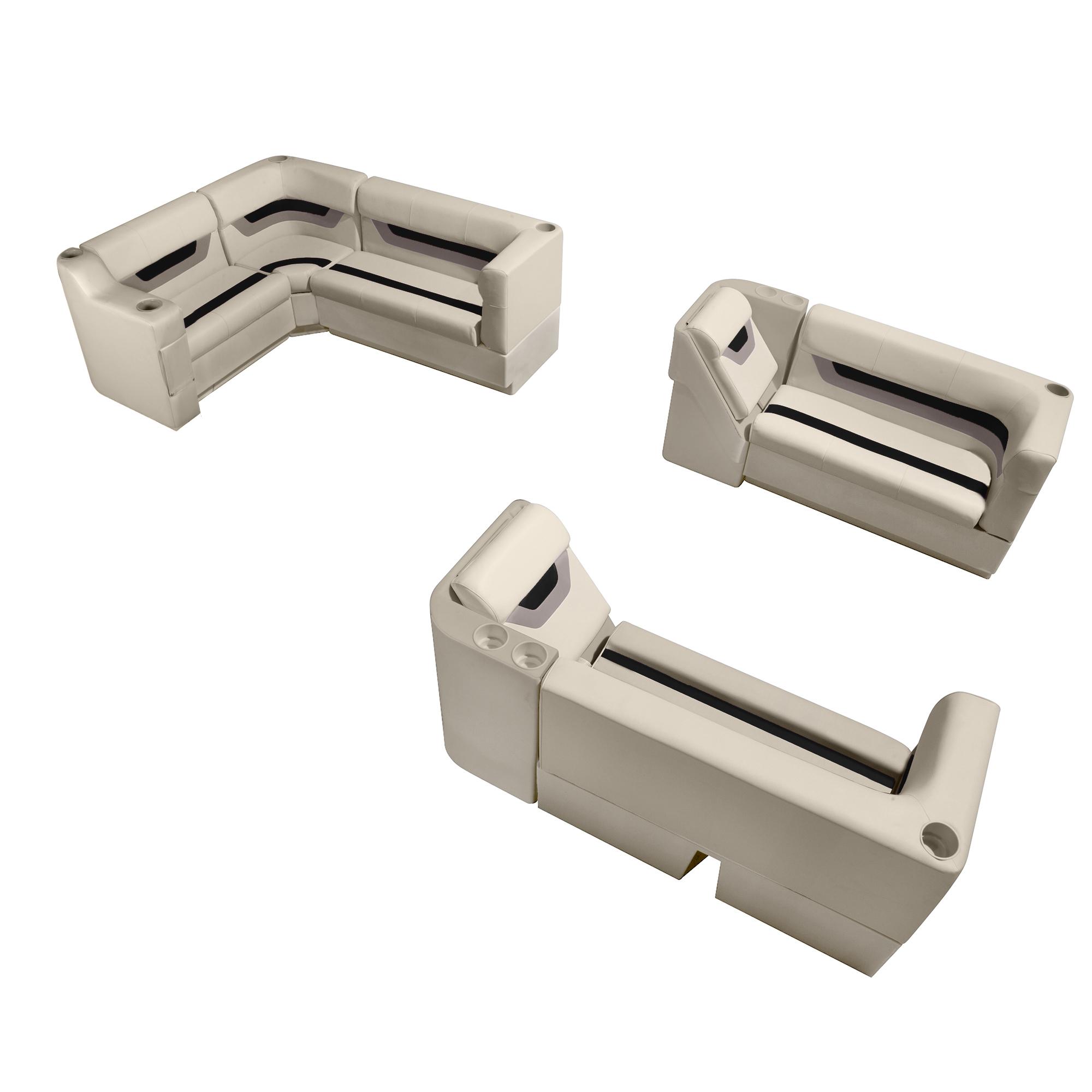 Designer Pontoon Furniture - Complete Lounger Package, Platinum/Black/Mocha