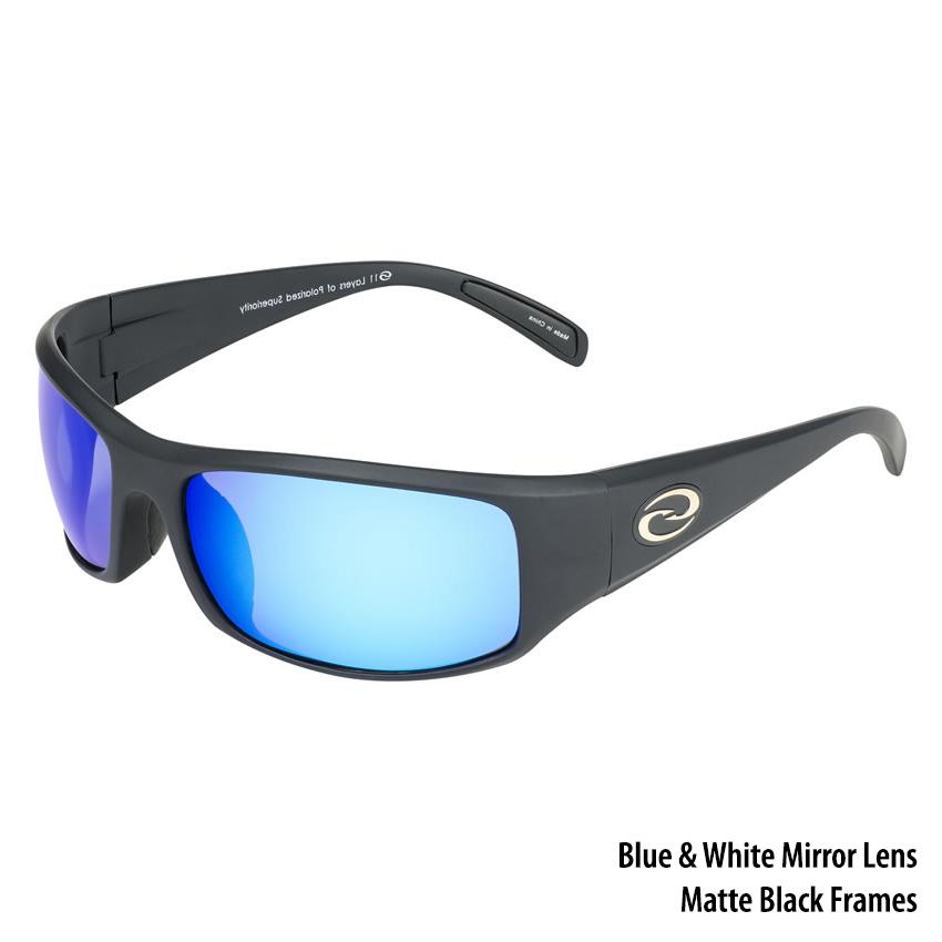 8f604b5577 Strike King S11 Okeechobee Sunglasses - Matte Black Frame White-Blue Mirror  Lens