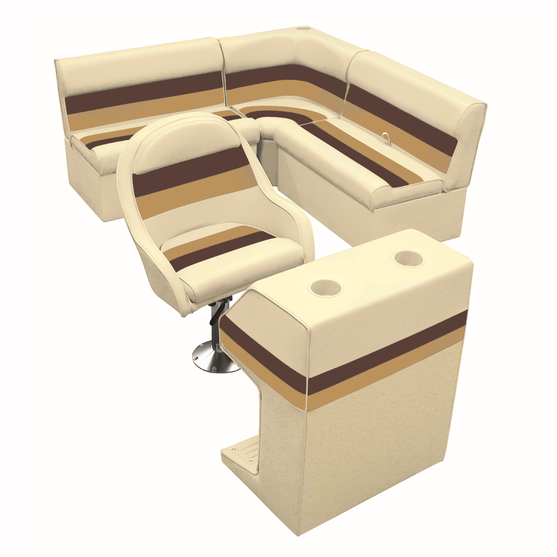 Deluxe Pontoon Furniture w/Classic Base - Rear Group Package D, Sand/Chestnt/Gld