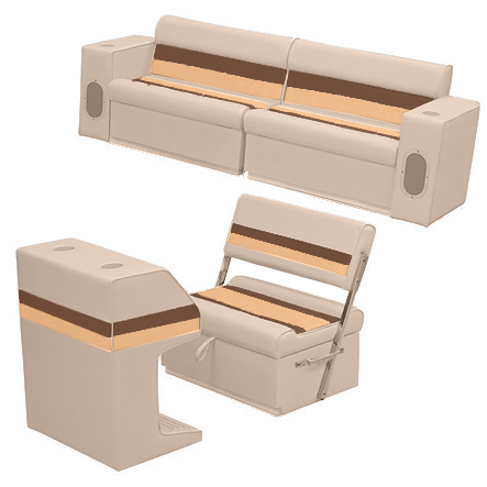 Deluxe Pontoon Furniture w/Toe Kick Base - Rear Group 7 Package, Sand/Chest/Gold